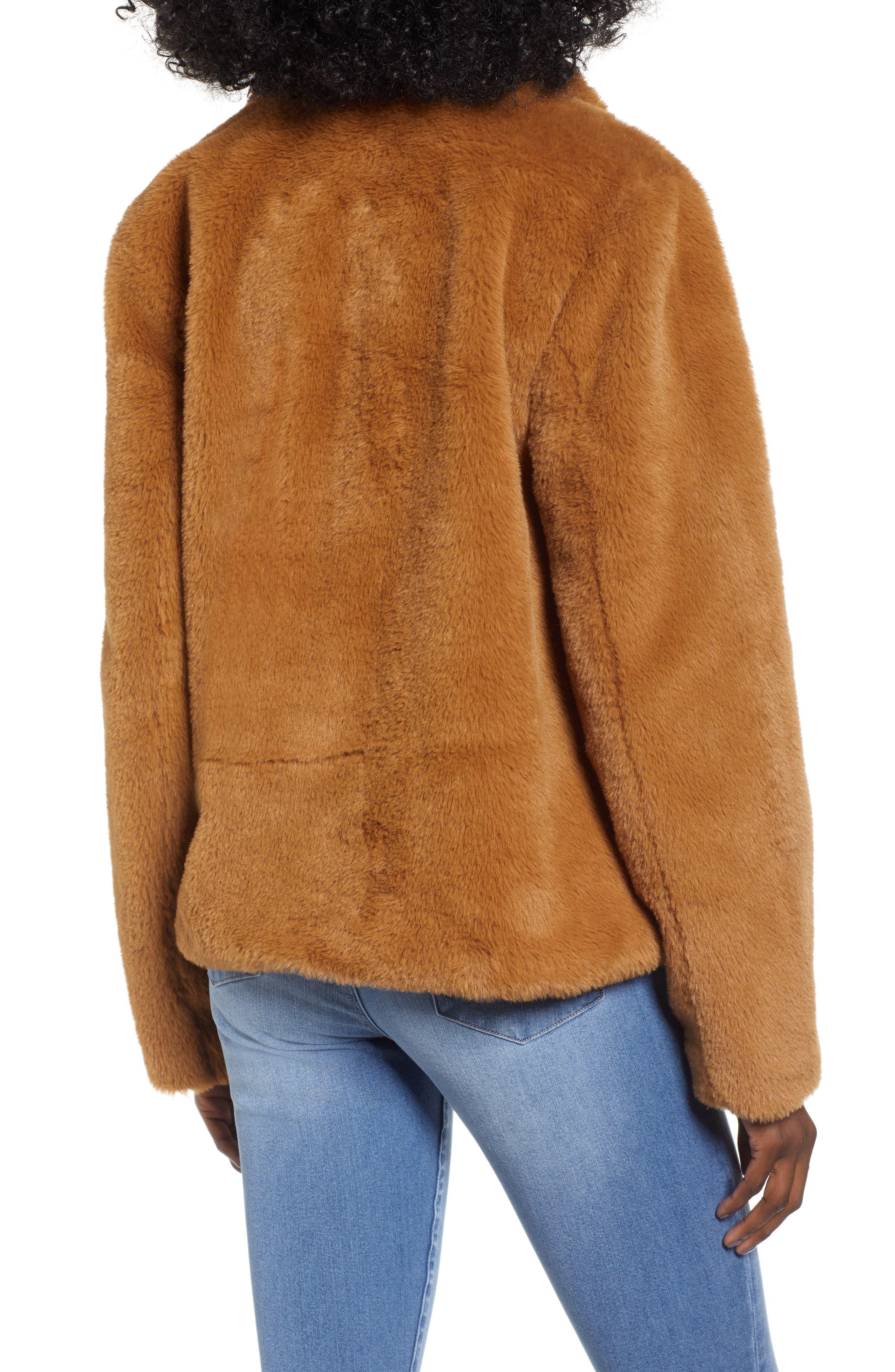 Fur-Fect Faux Fur Jacket,                             Alternate thumbnail 2, color,                             TAN DALE