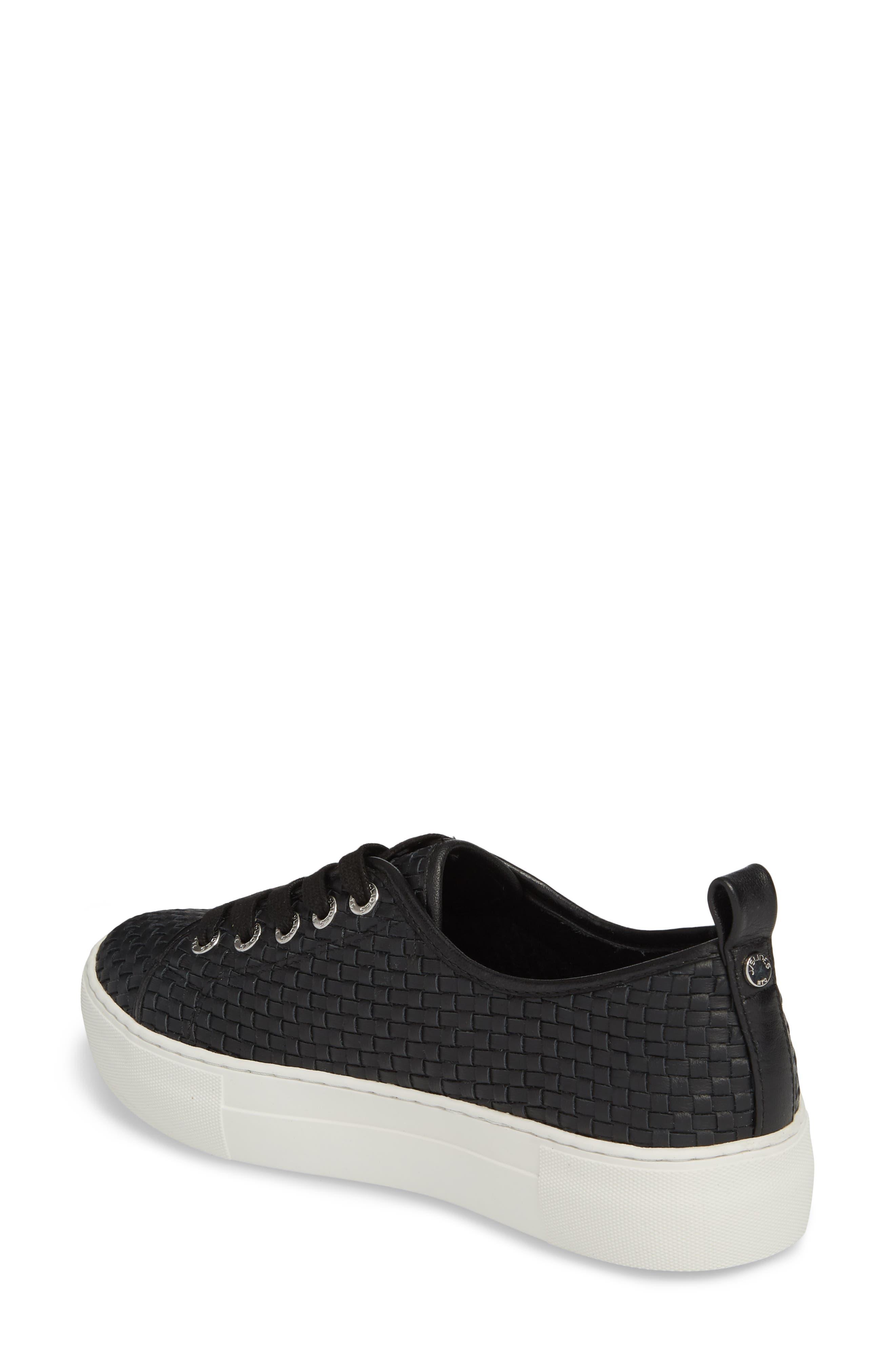 Artsy Woven Platform Sneaker,                             Alternate thumbnail 2, color,                             BLACK LEATHER