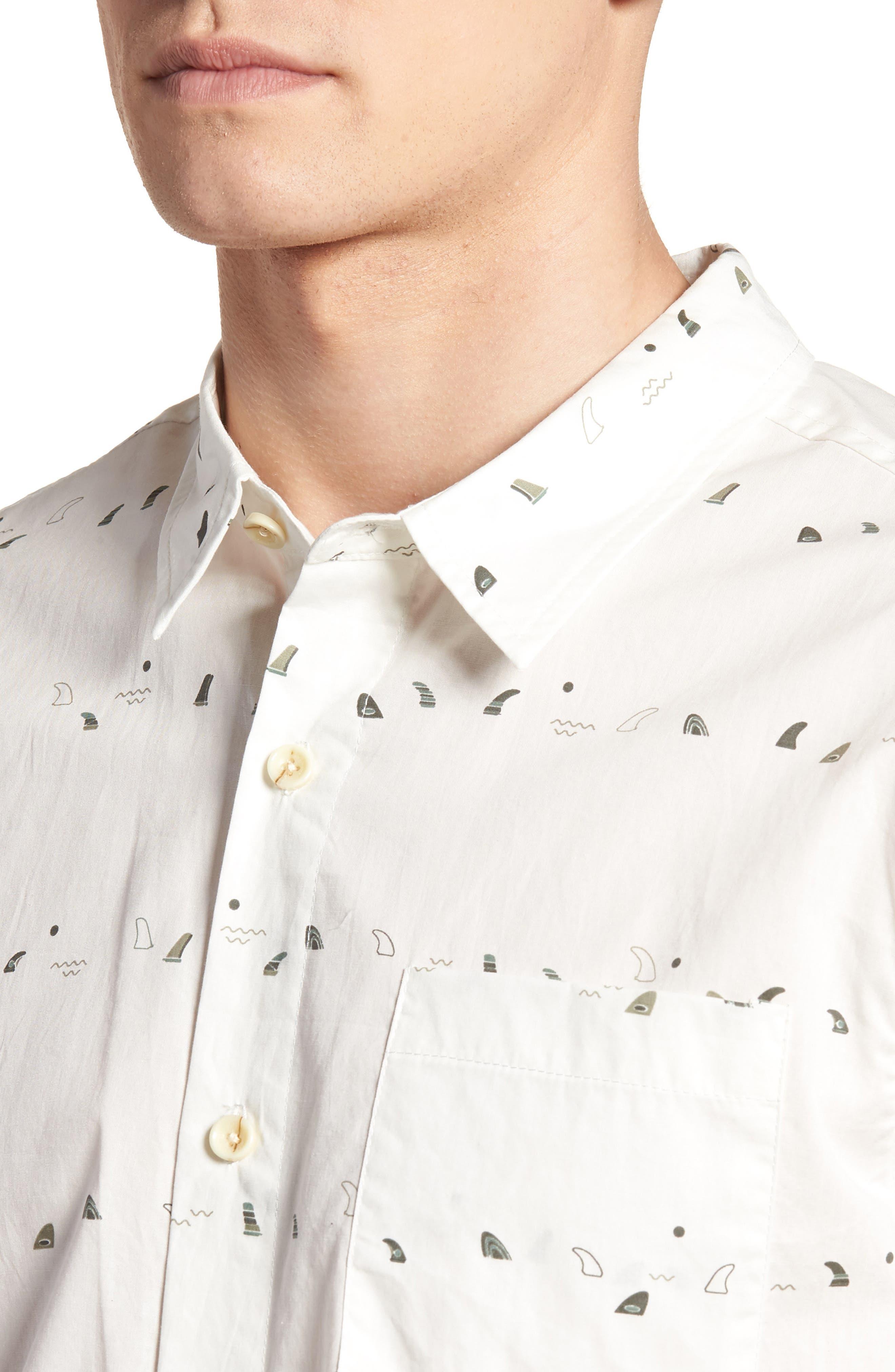 Single Fin Regular Fit Short Sleeve Sport Shirt,                             Alternate thumbnail 4, color,                             100