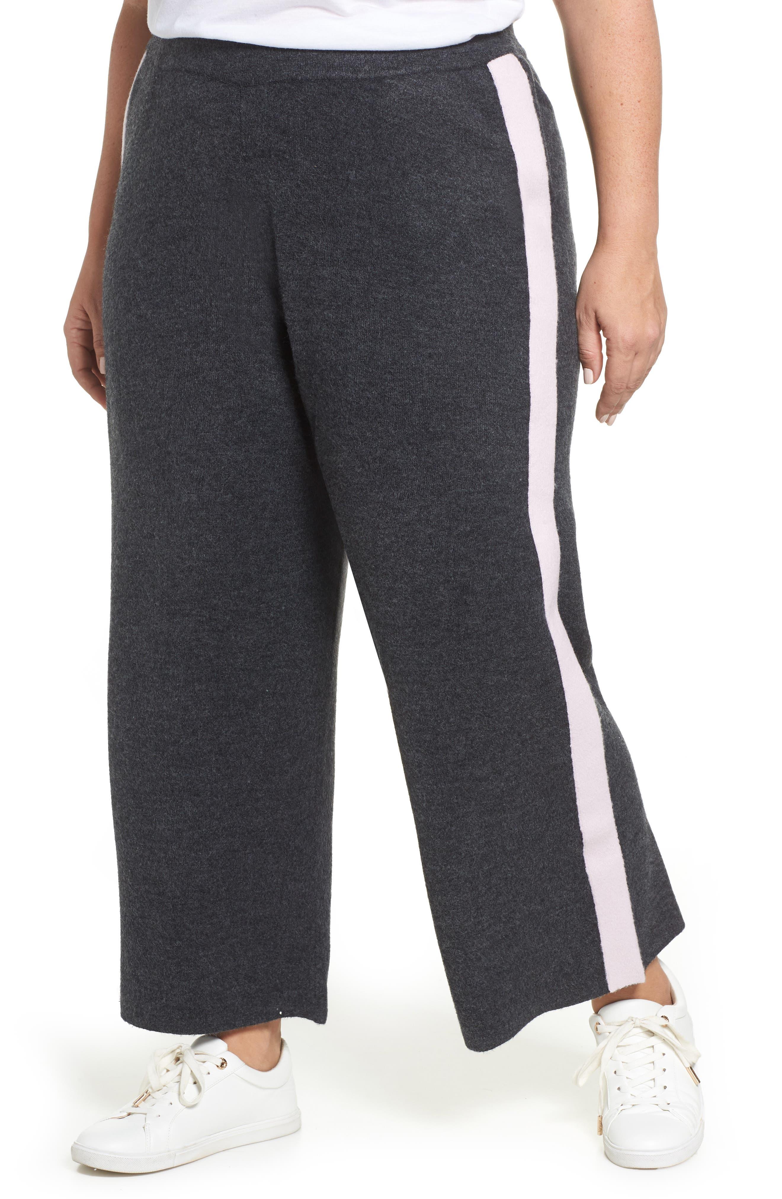 CASLON<SUP>®</SUP> Off Duty Stripe Sweatpants, Main, color, GREY DARK CHARCOAL HEATHER- LA