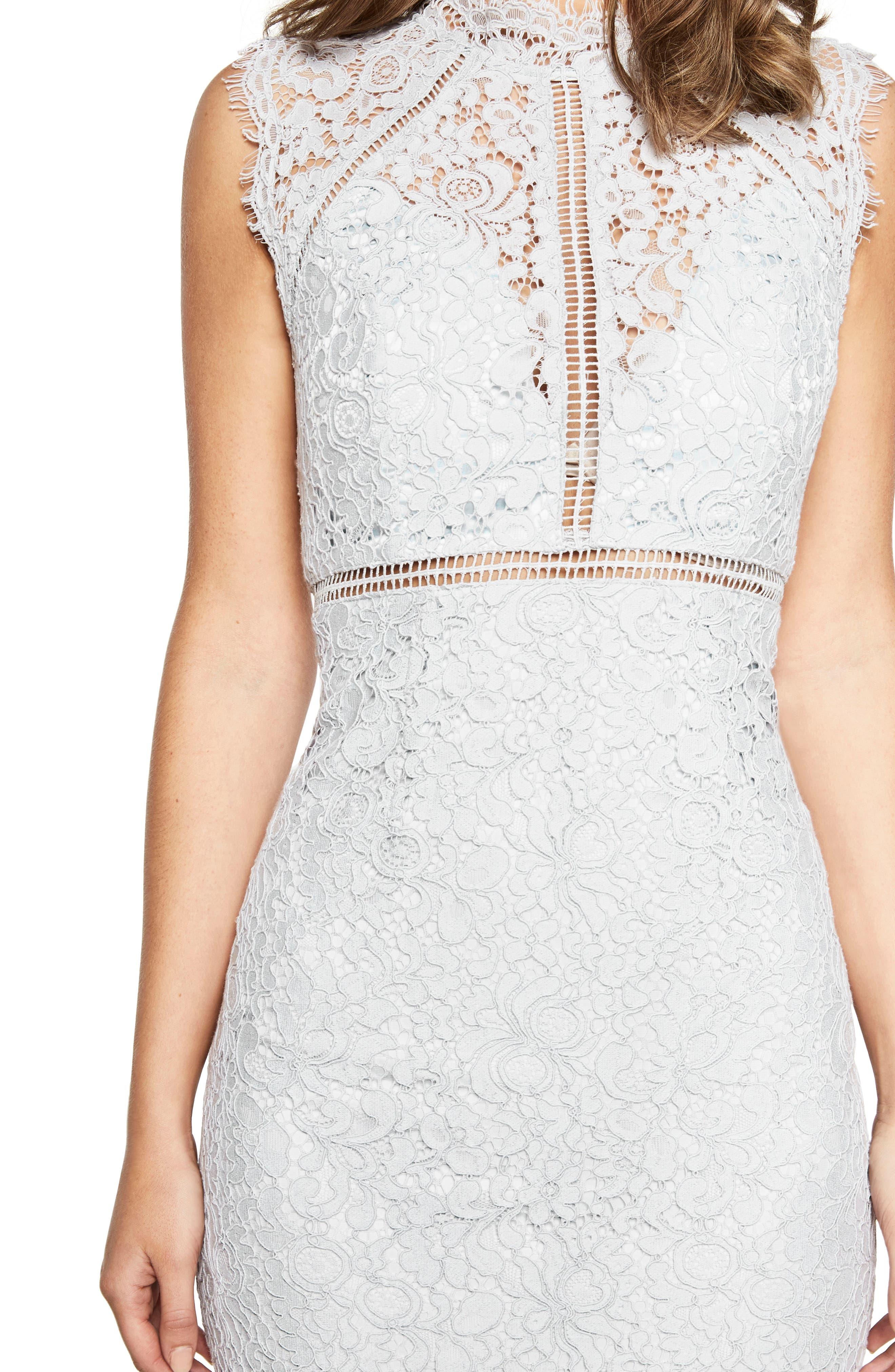 Lace Sheath Dress,                             Alternate thumbnail 4, color,                             BLUE MIST