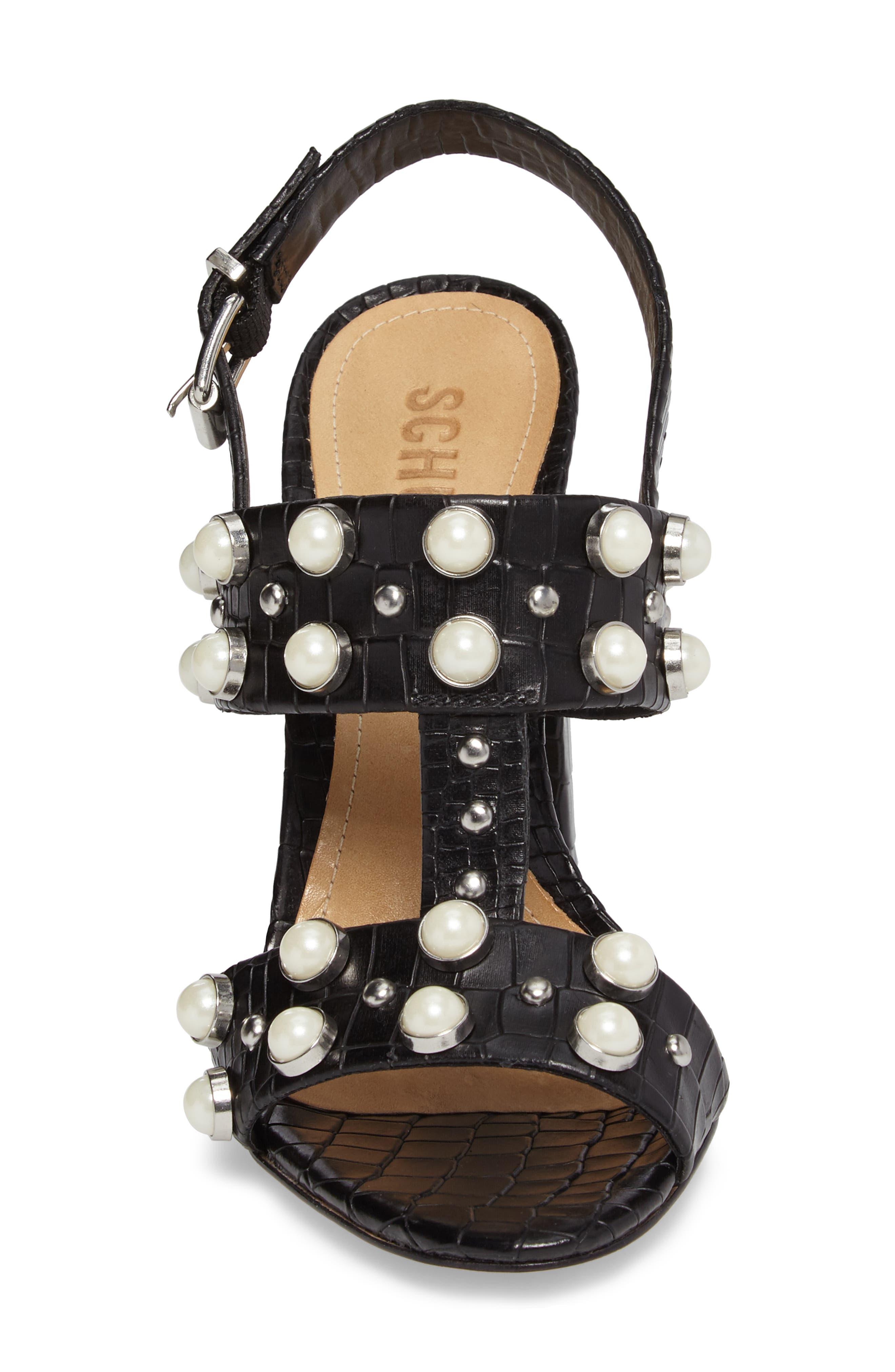 Zarita Imitation Pearl Embellished Sandal,                             Alternate thumbnail 4, color,                             001