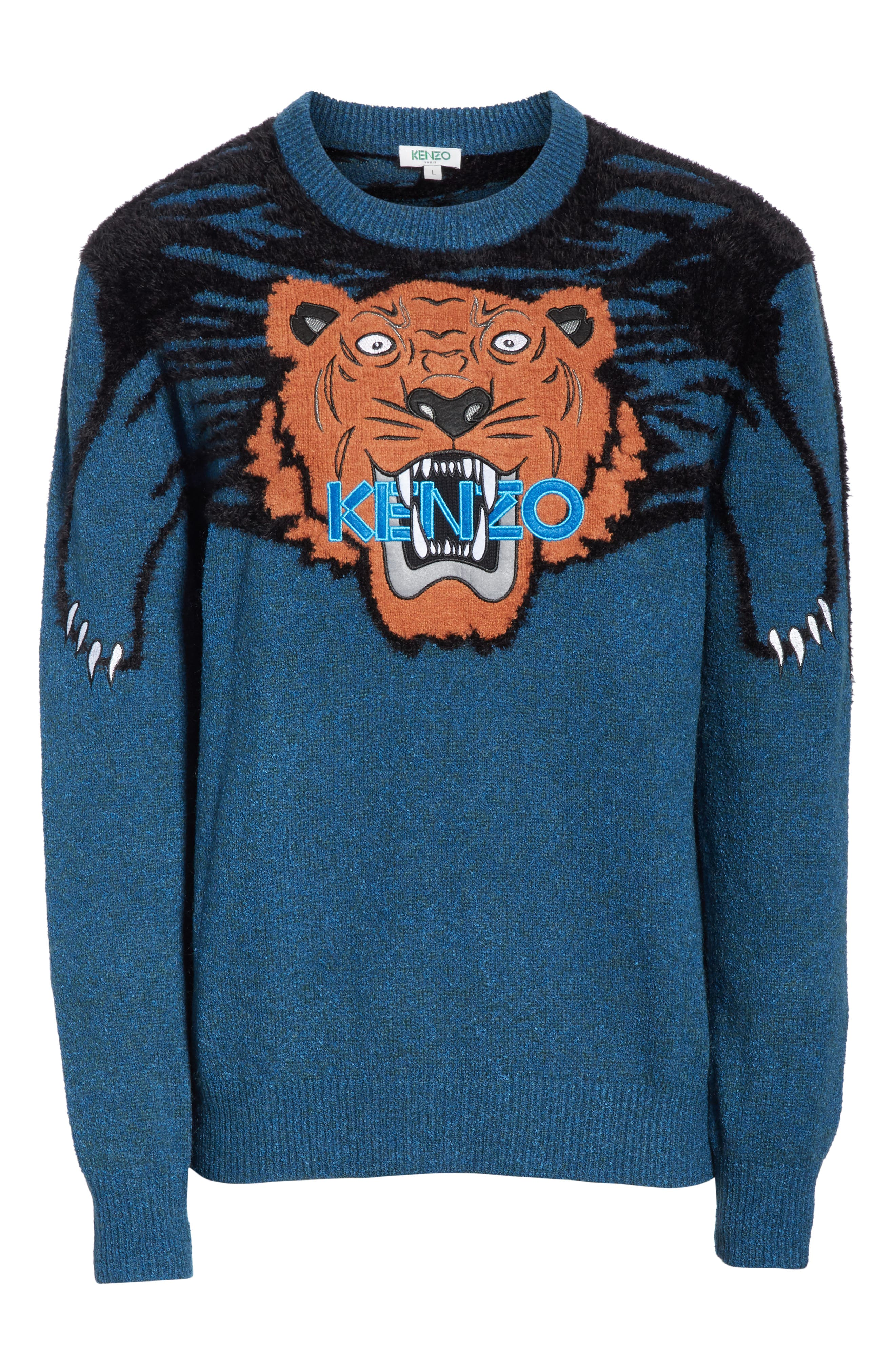 Tiger Claw Crewneck Sweater,                             Alternate thumbnail 6, color,                             PINE