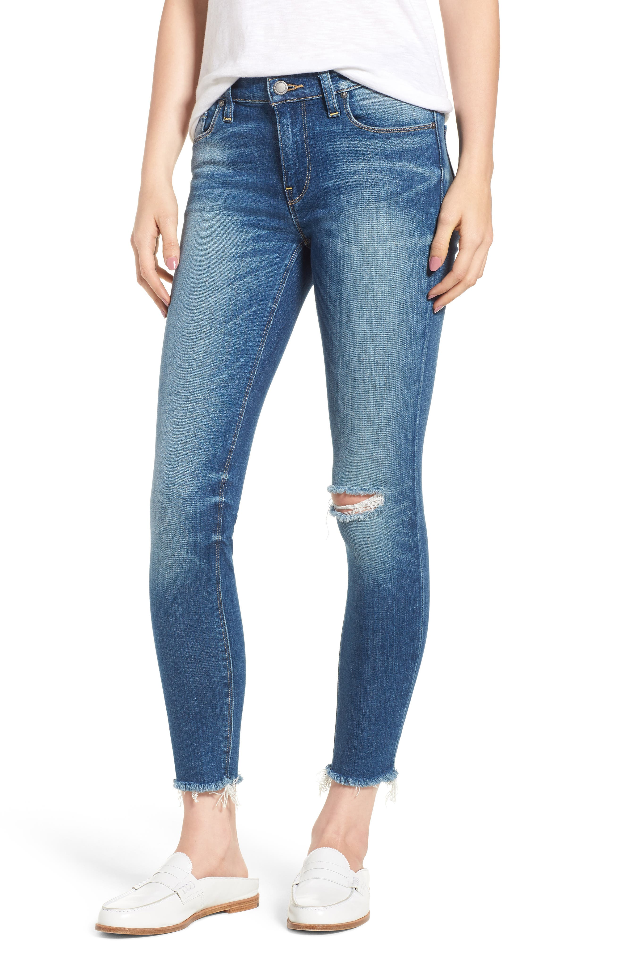 HUDSON Nico Mid Rise Frayed Ankle Skinny Jeans In Amar in Blue