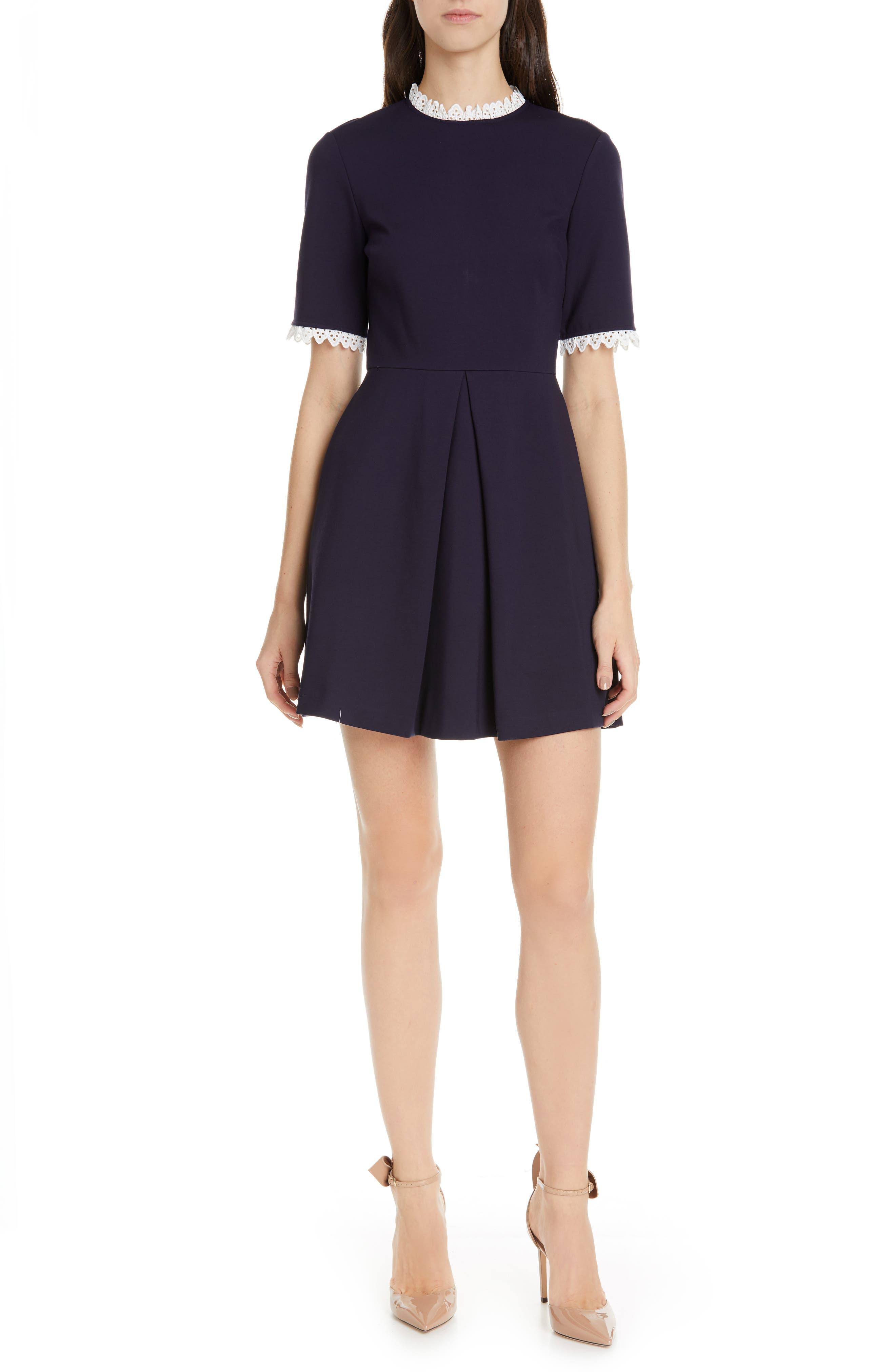Ted Baker London Blussum Broderie Trim A-Line Dress, Blue