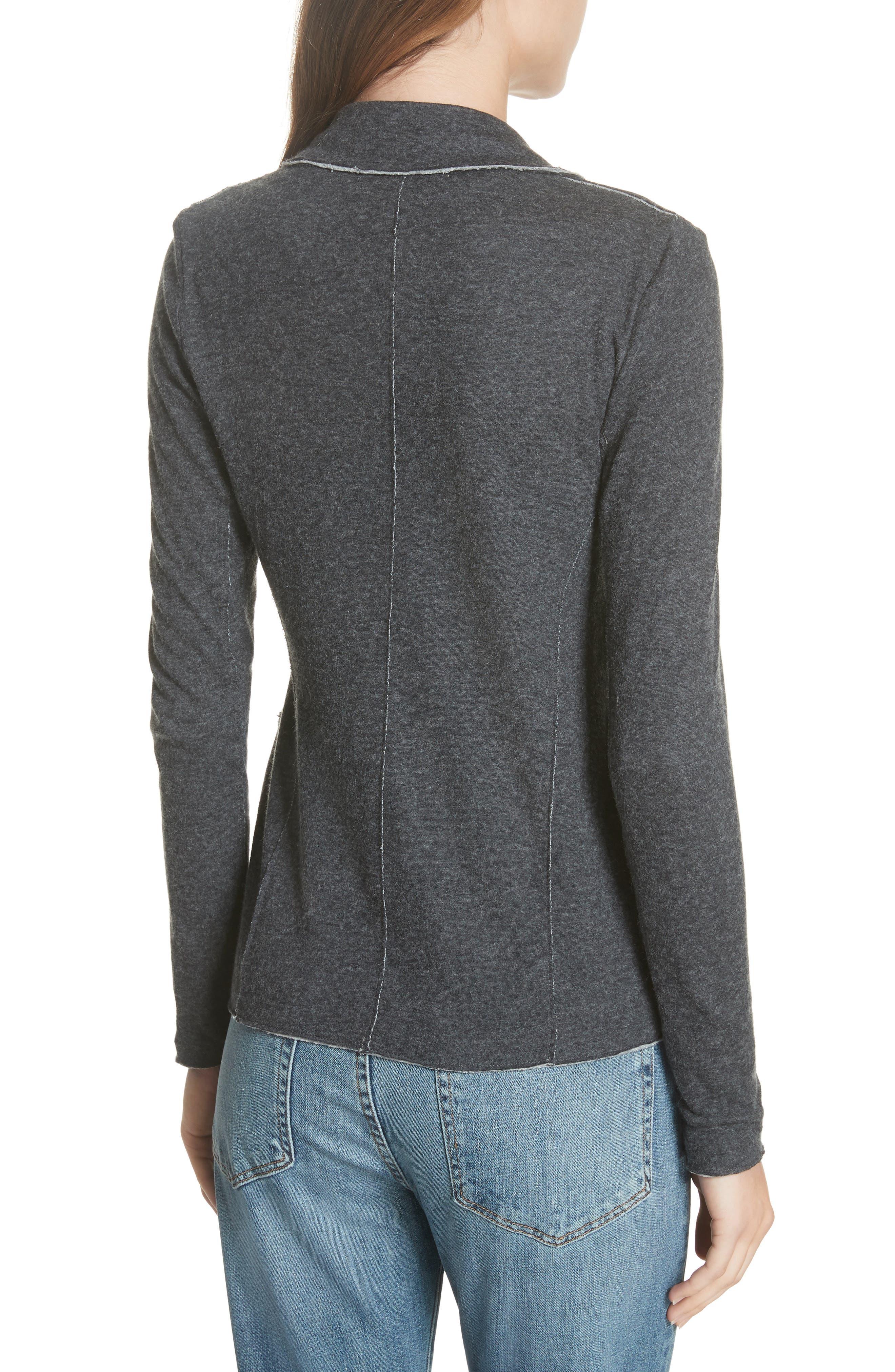 Cotton & Cashmere Blazer,                             Alternate thumbnail 2, color,                             ANTHRACITE CH/ GRIS CH