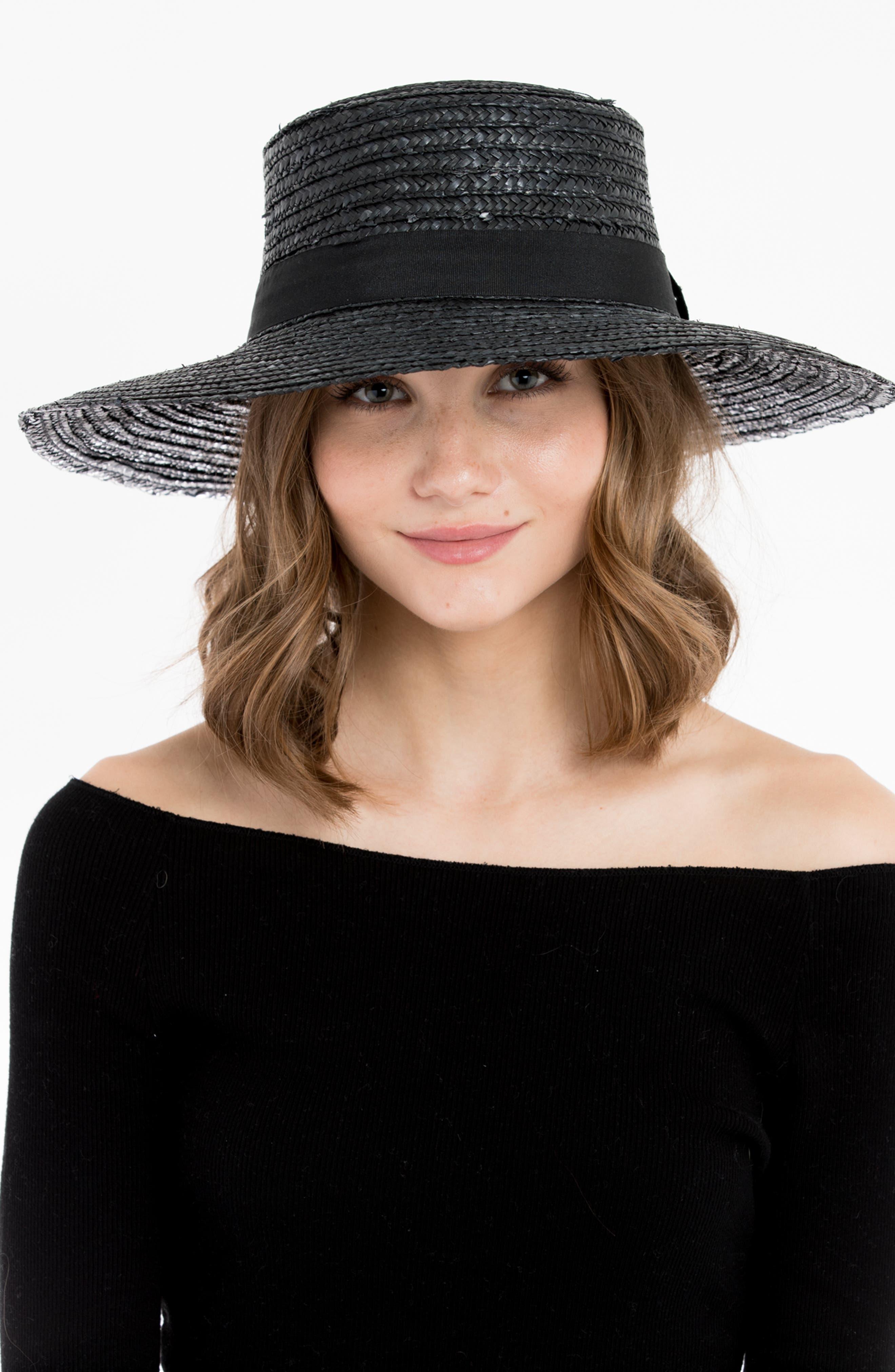 Lupe Straw Resort Hat,                             Alternate thumbnail 3, color,                             BLACK