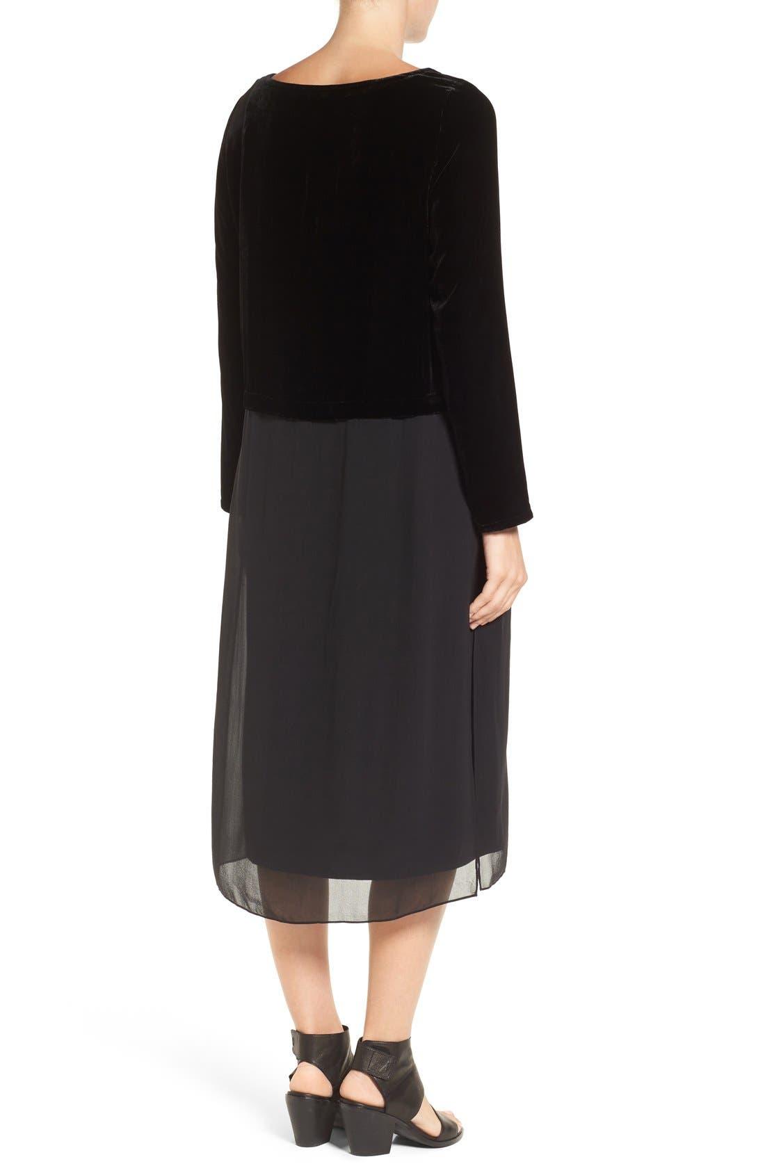 Velvet & Silk Midi Length Shift Dress,                             Alternate thumbnail 2, color,                             001