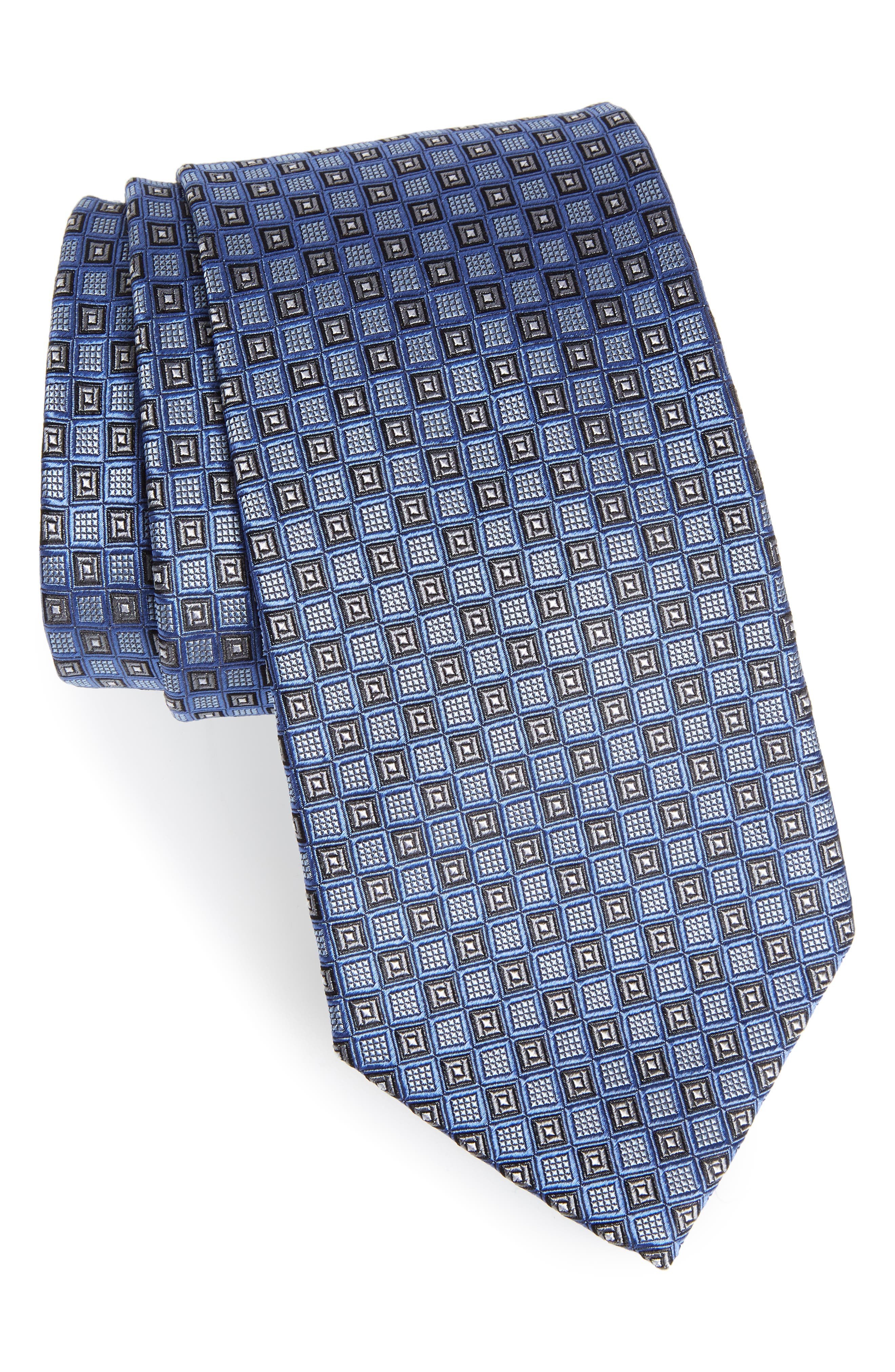 Grid Silk Tie,                             Main thumbnail 1, color,                             420