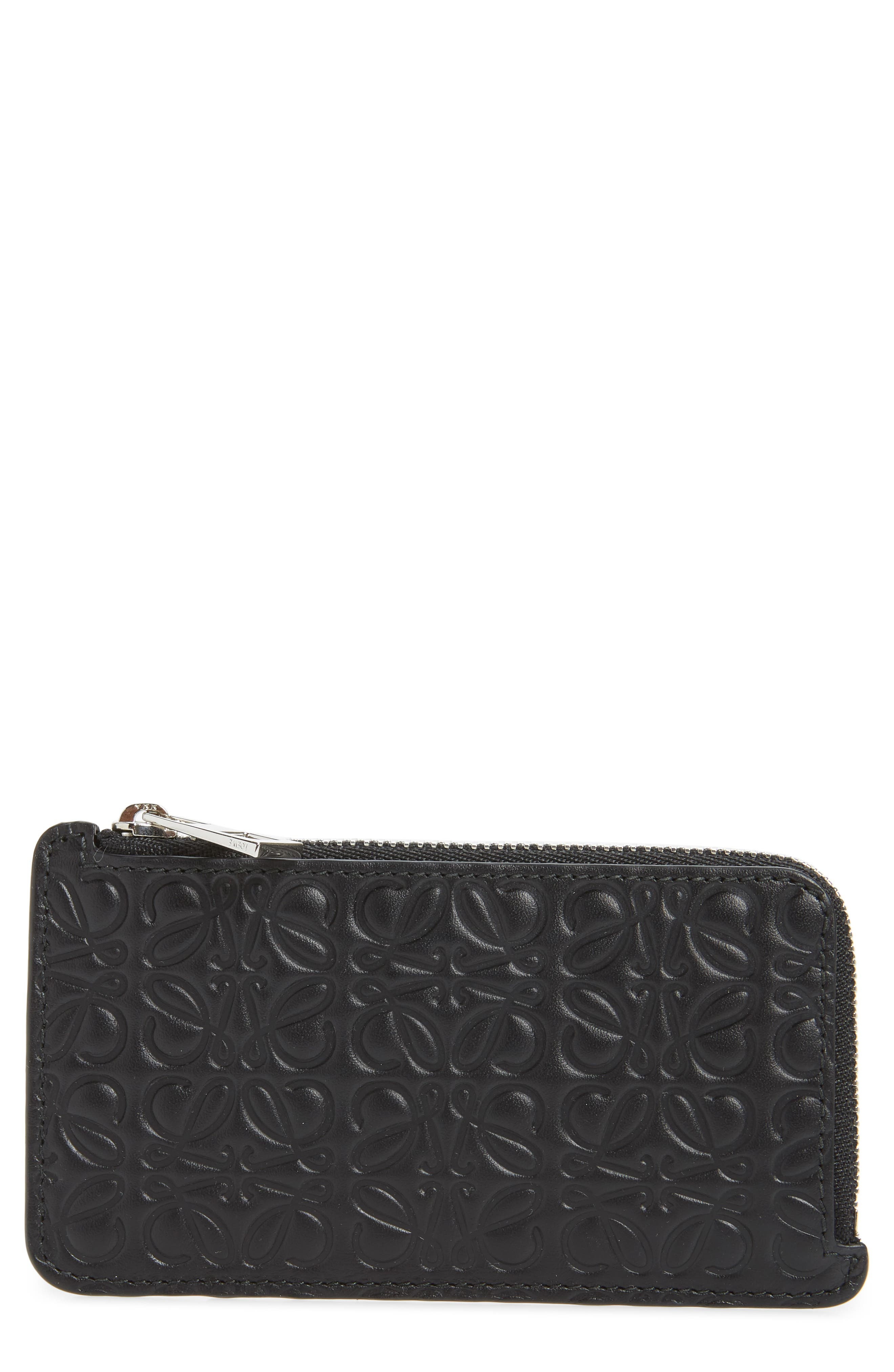 Coin & Card Leather Zip Pouch,                         Main,                         color, BLACK