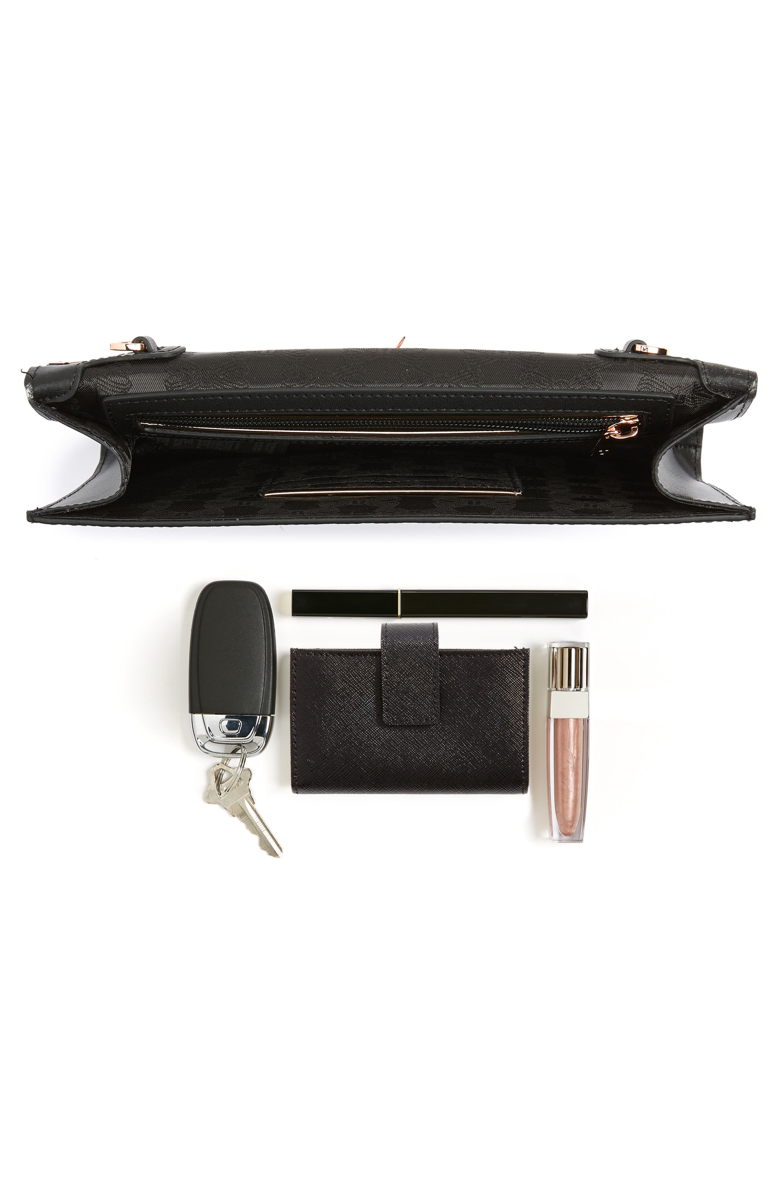 Jenaa Embossed Bow Leather Clutch,                             Alternate thumbnail 7, color,