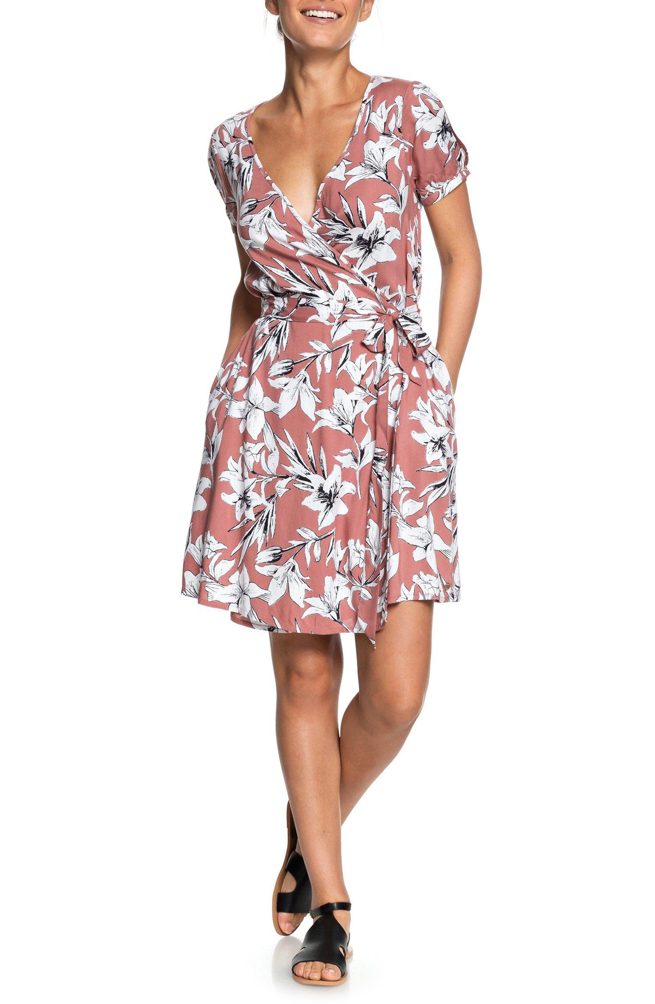 Roxy Monument View Floral Print Wrap Dress, Pink