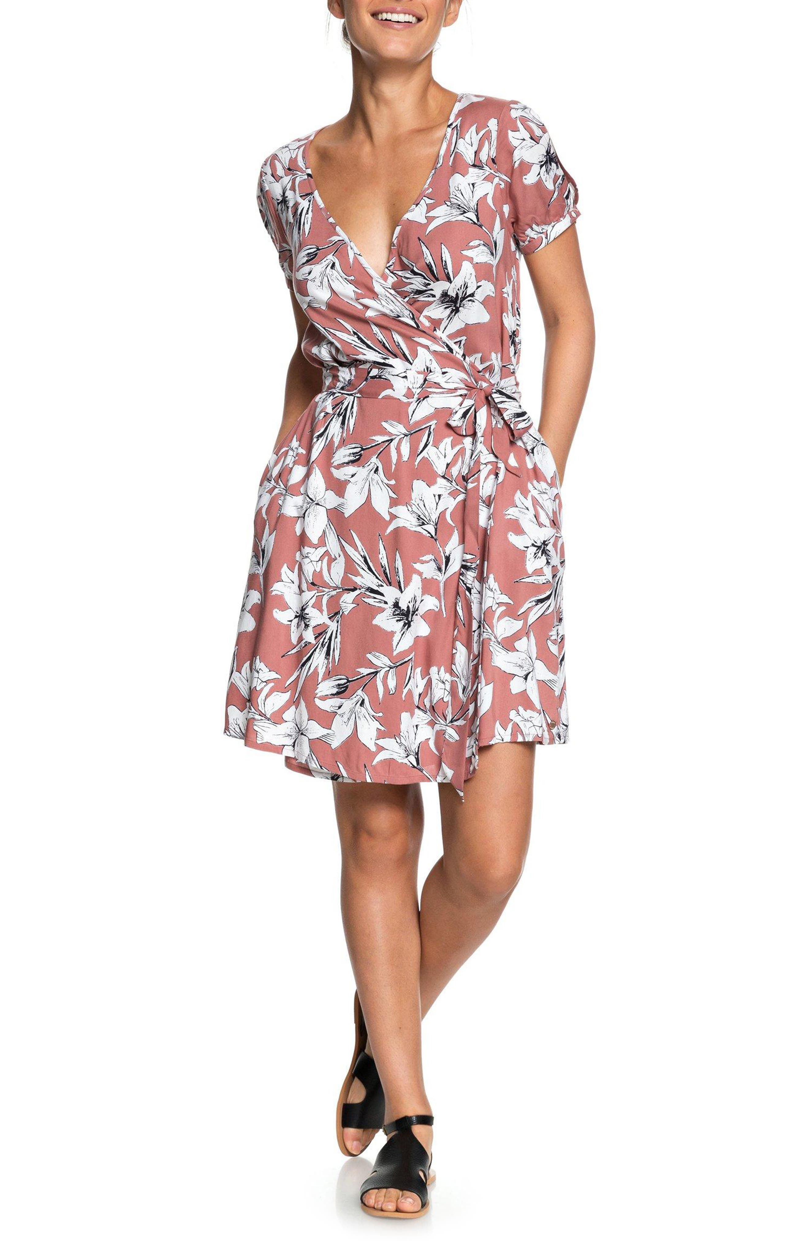Monument View Floral Print Wrap Dress,                         Main,                         color, WITHERED ROSE LILY HOUSE