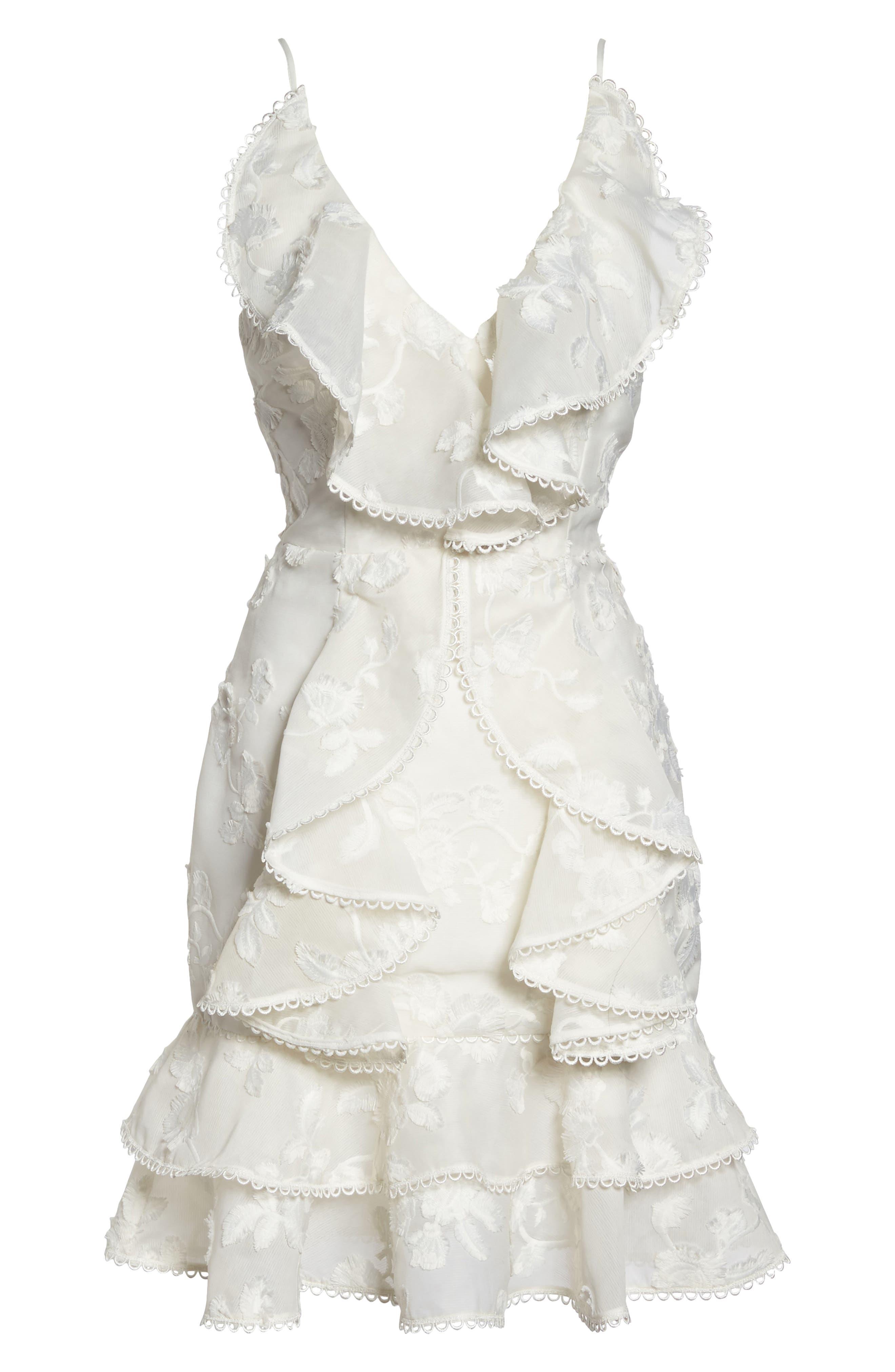 Shine Ruffle Lace Dress,                             Alternate thumbnail 6, color,                             900