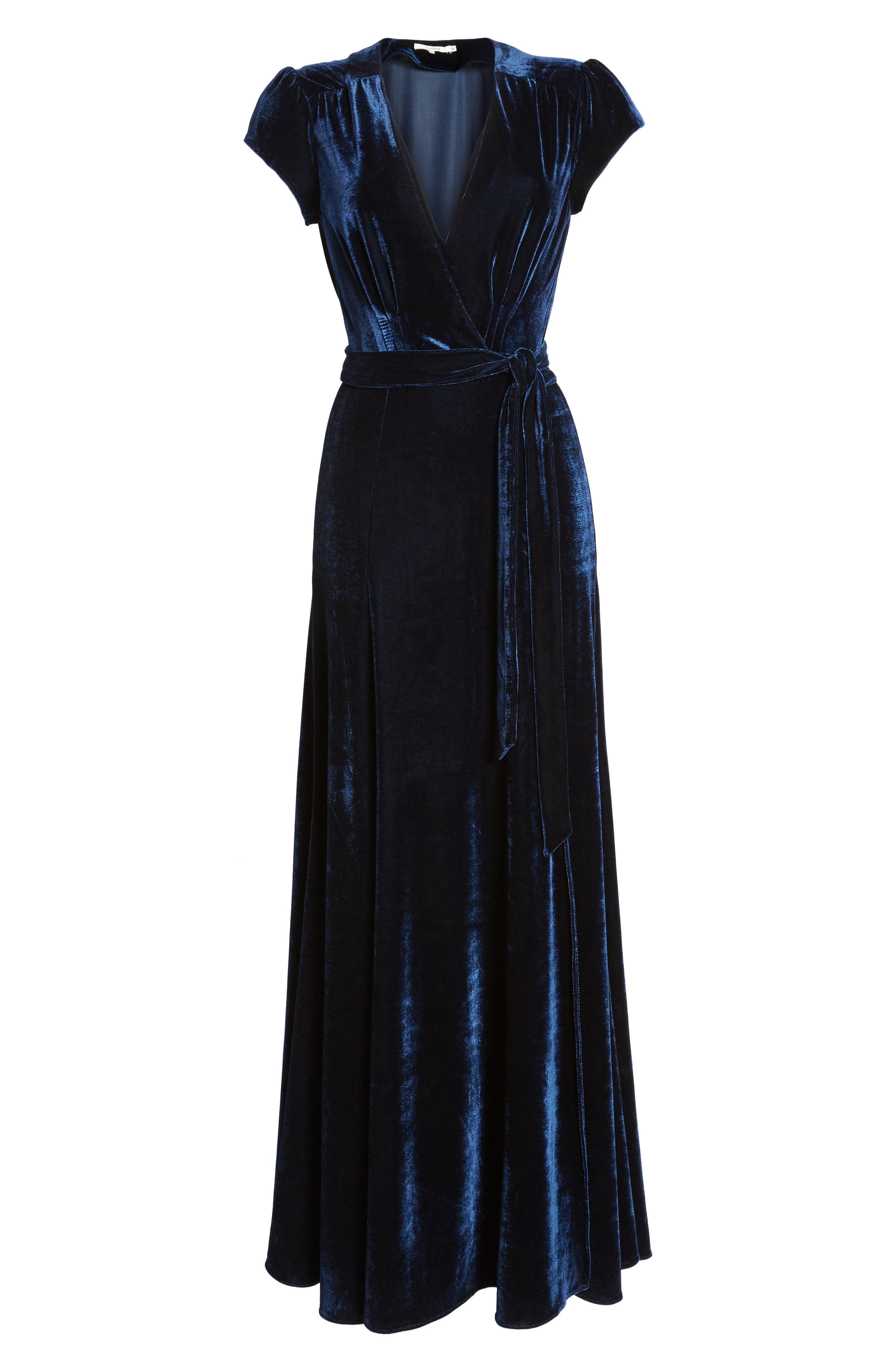 Sid Velvet Wrap Maxi Dress,                             Alternate thumbnail 6, color,                             400