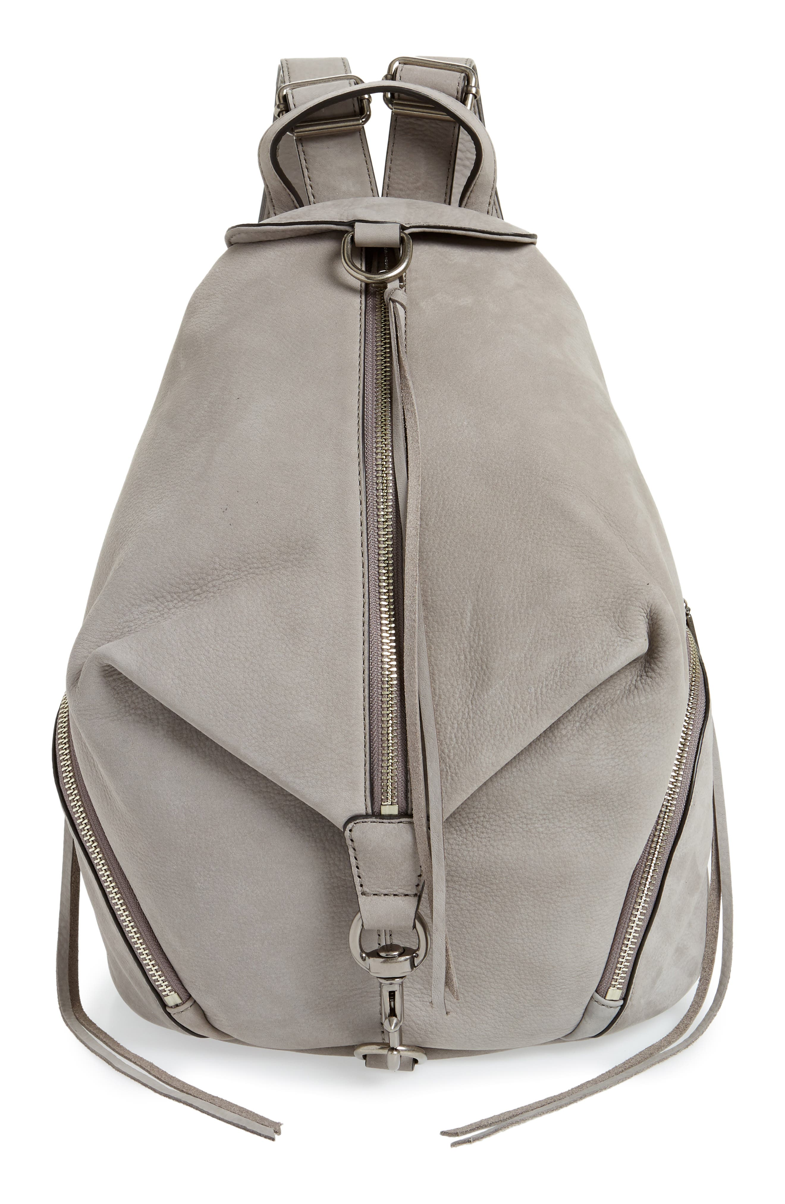 Julian Nubuck Leather Backpack,                             Main thumbnail 1, color,                             GREY