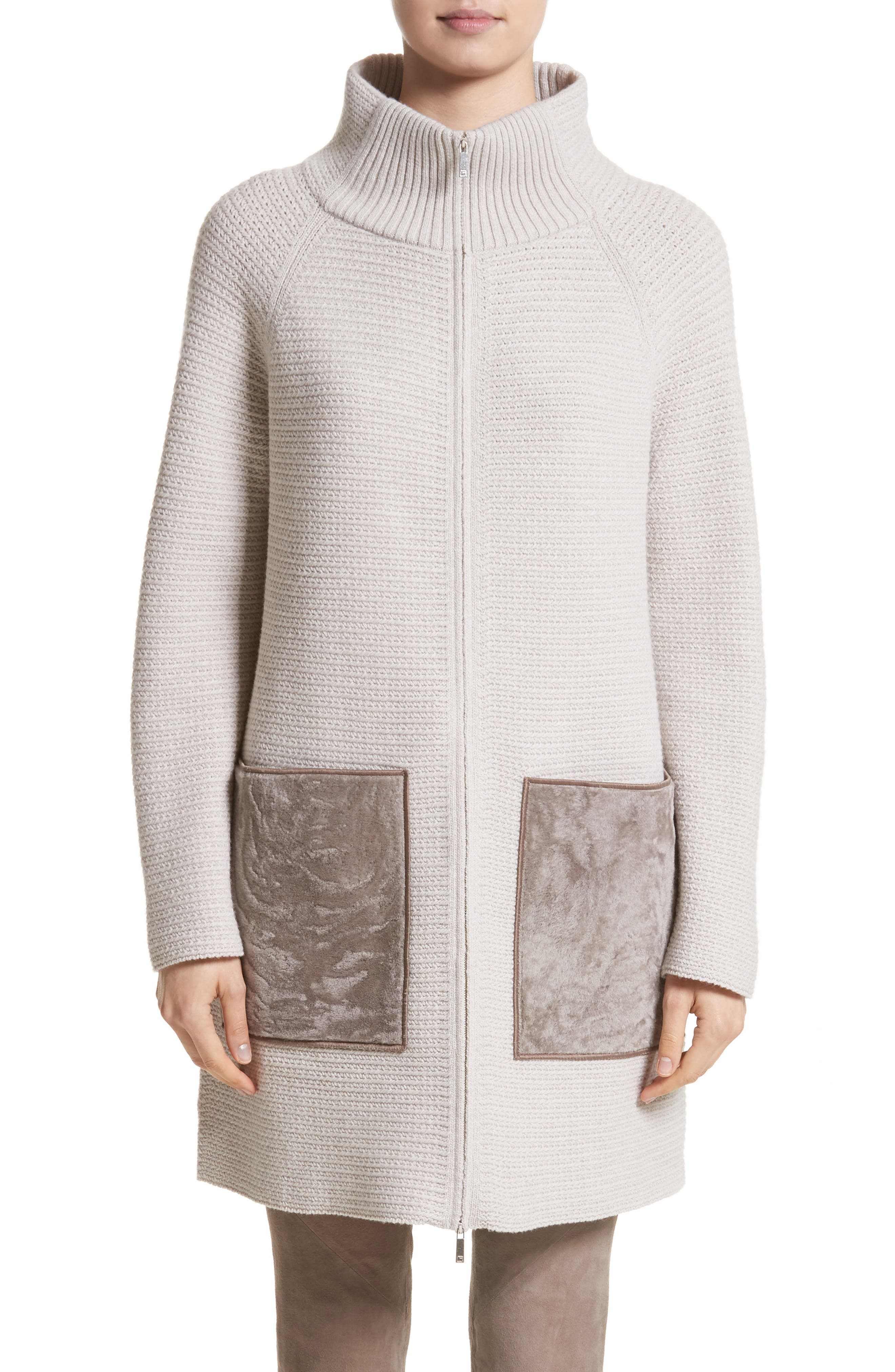 Wool & Cashmere Herringbone Stitch Cardigan with Genuine Shearling Pockets,                             Main thumbnail 1, color,