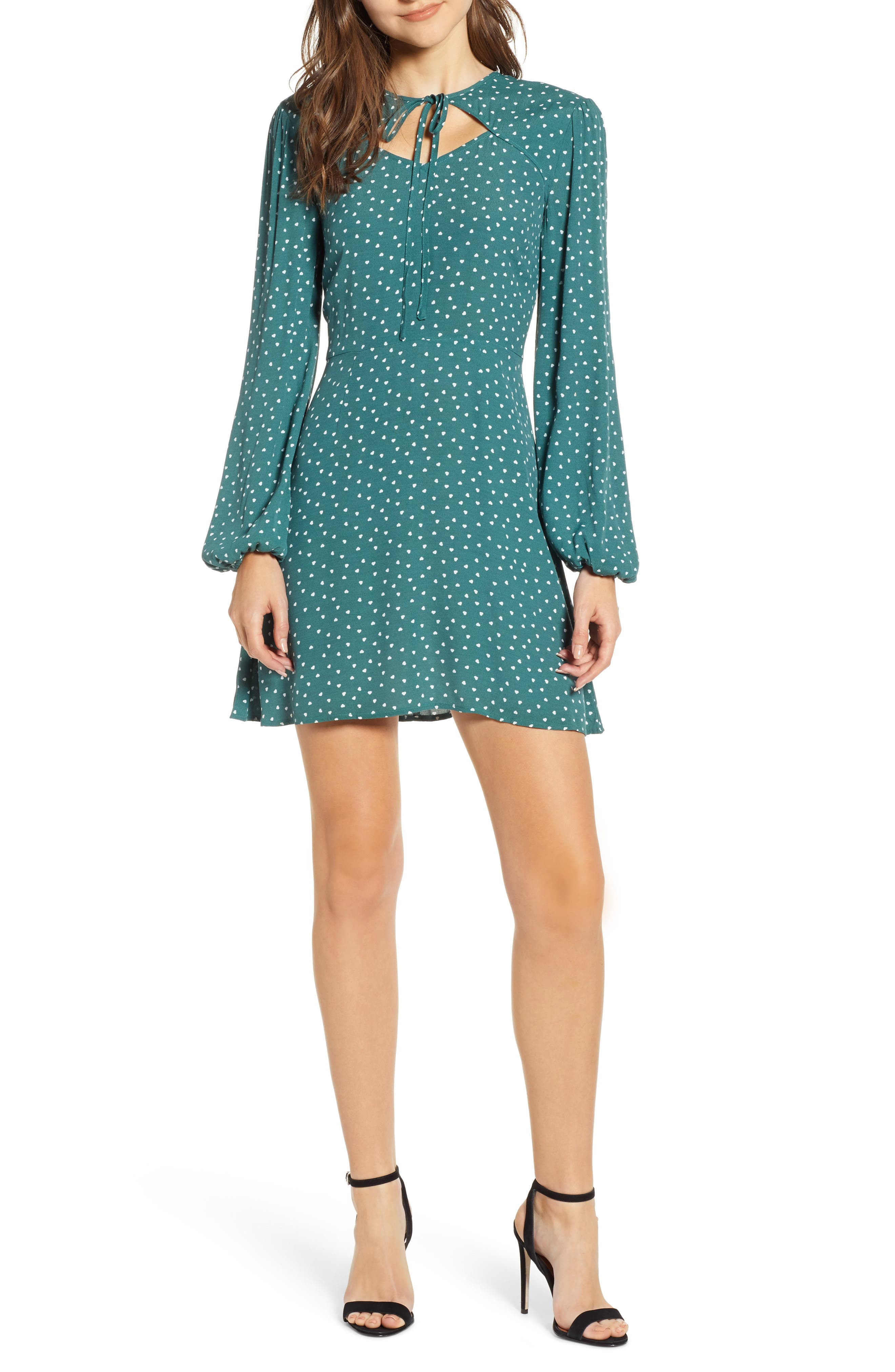 The Fifth Label Amore Heart Print Cutout Minidress, Green