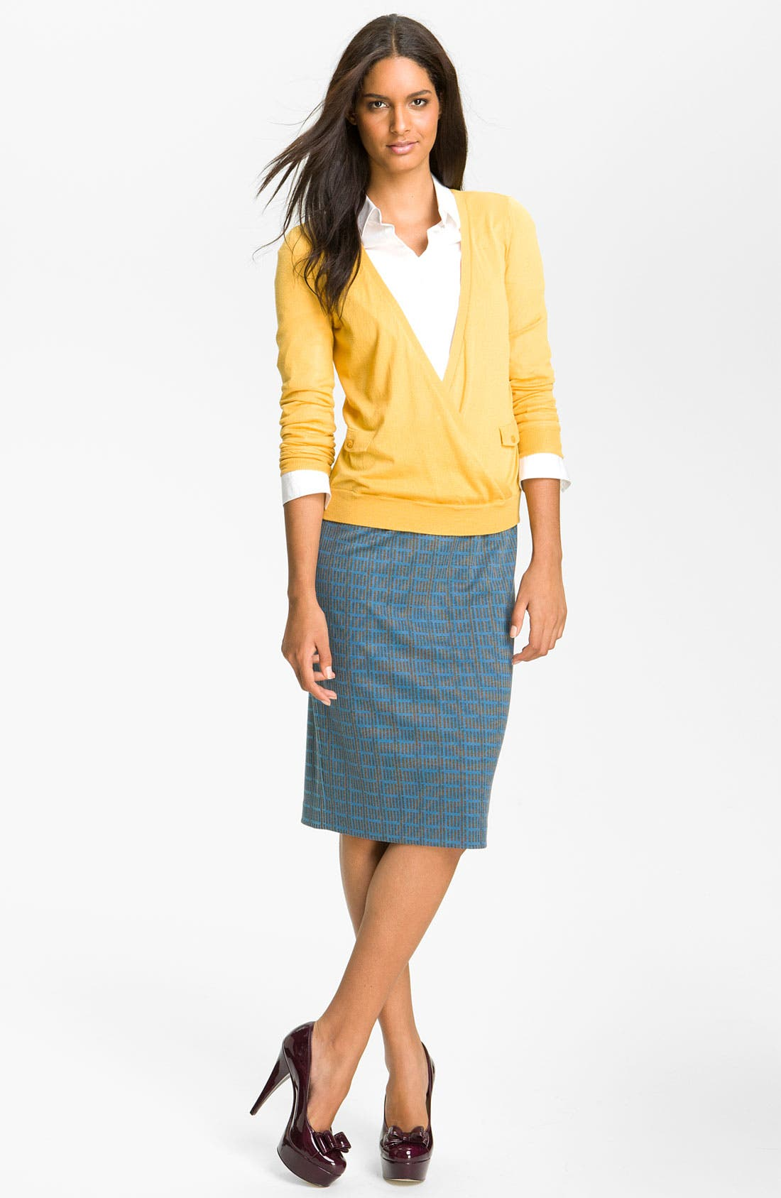 Belted Ponte Skirt,                             Alternate thumbnail 32, color,