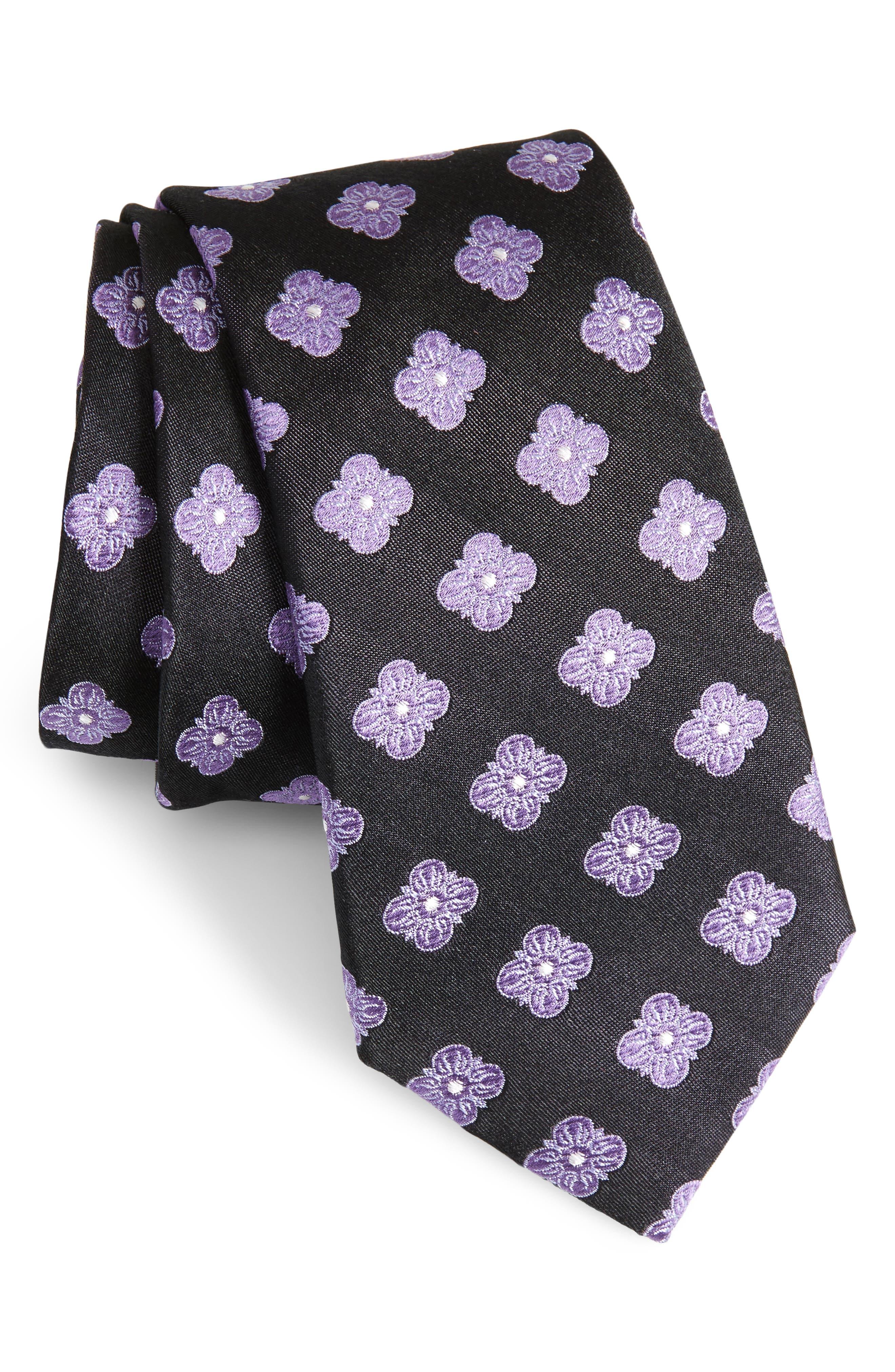 Cameron Floral Medallion Silk Tie,                         Main,                         color, BLACK