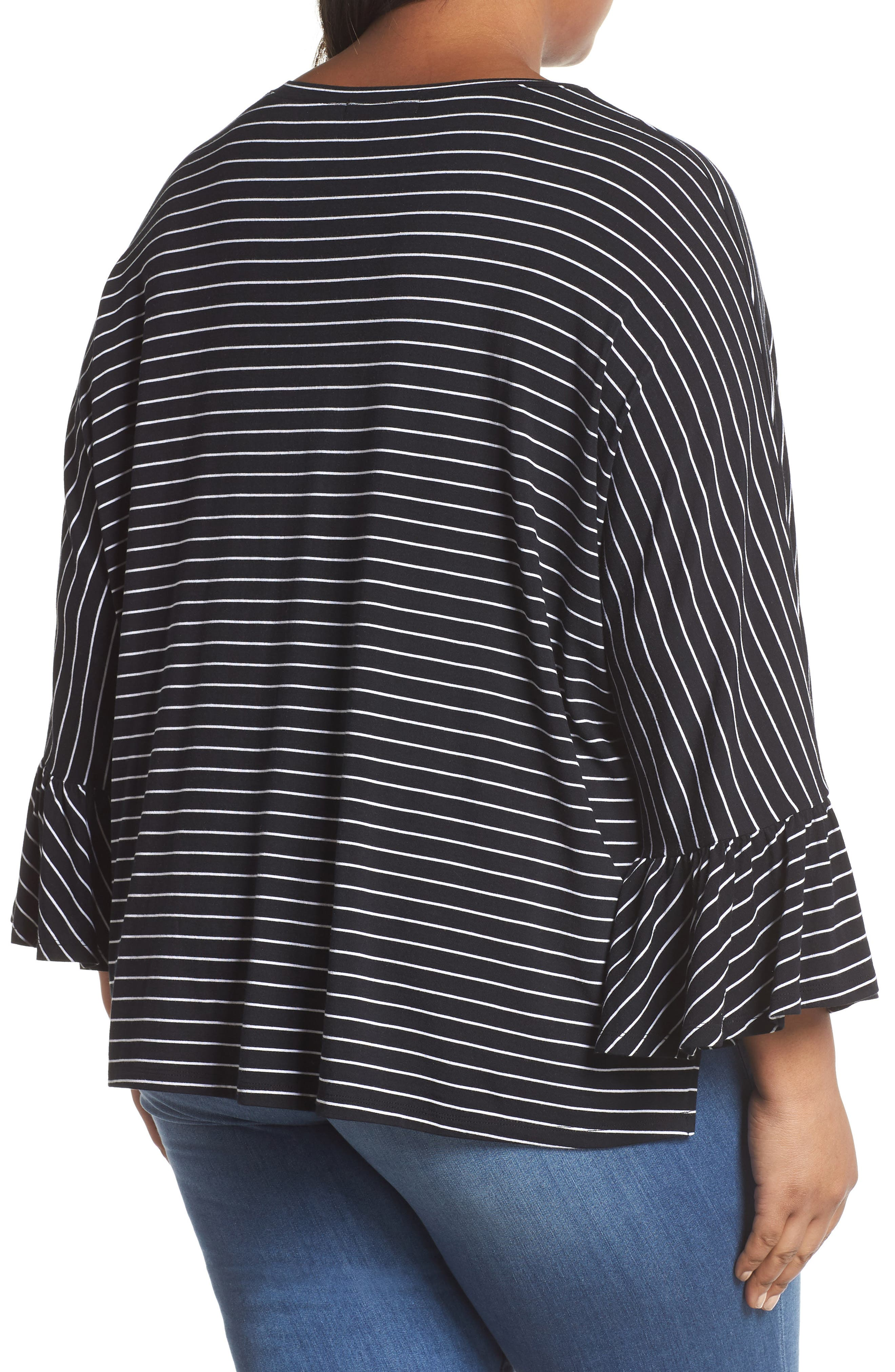 Ruffle Sleeve Knit Top,                             Alternate thumbnail 2, color,                             001