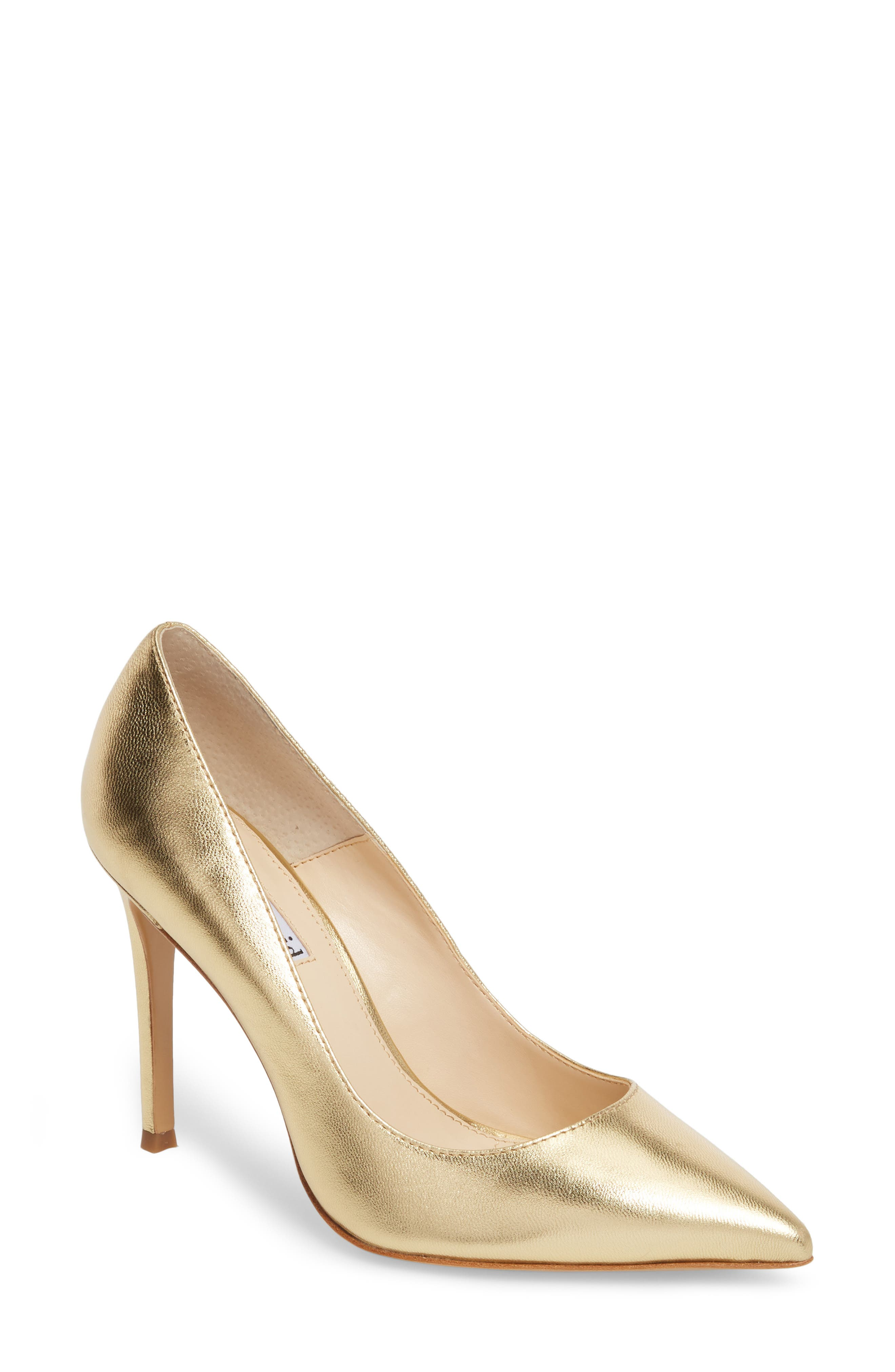 Calessi Pointy Toe Pump,                             Main thumbnail 1, color,                             GOLD LEATHER