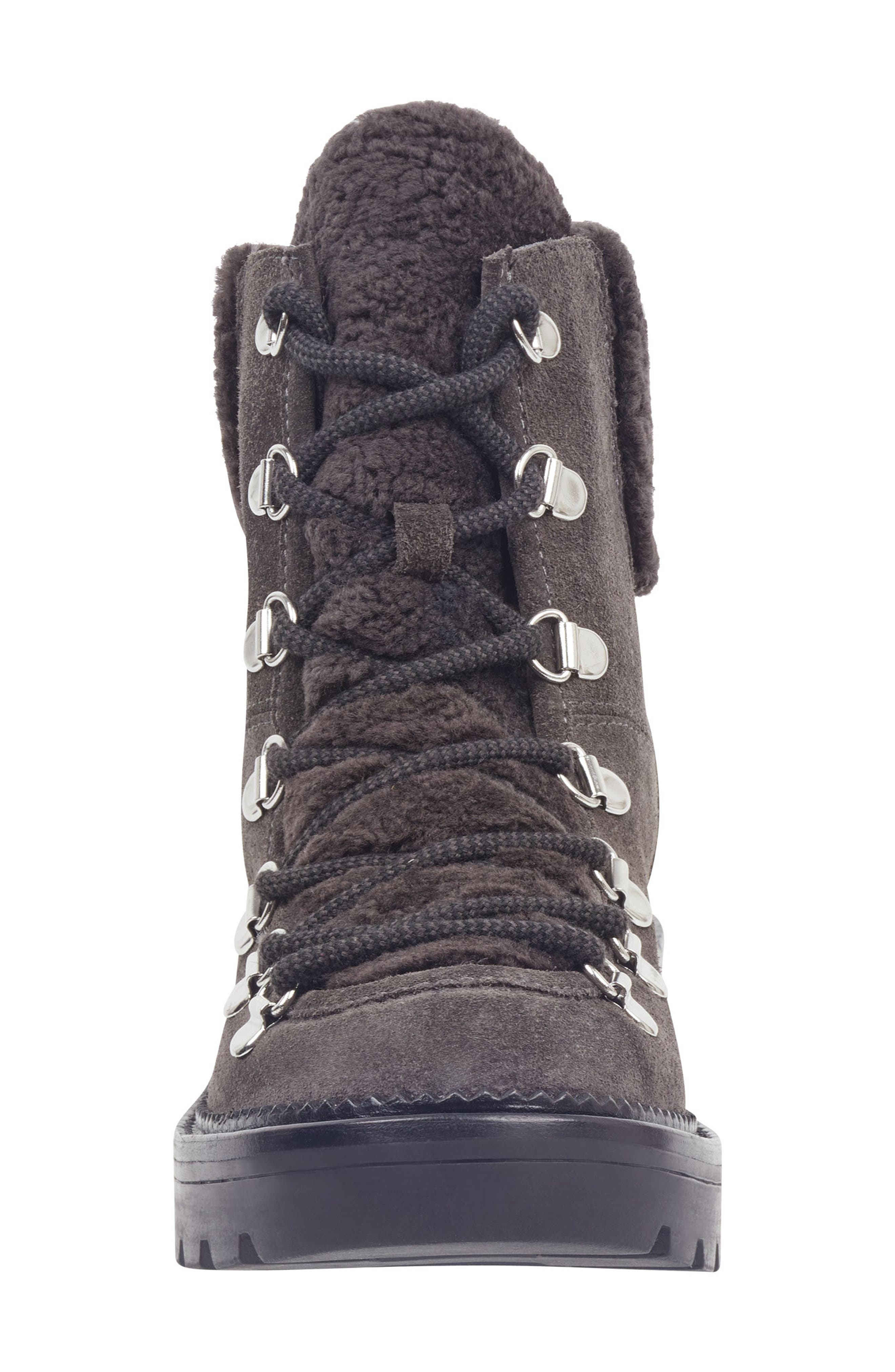 MARC FISHER LTD,                             Capell Genuine Shearling Cuff Lace-Up Boot,                             Alternate thumbnail 4, color,                             GREY SUEDE