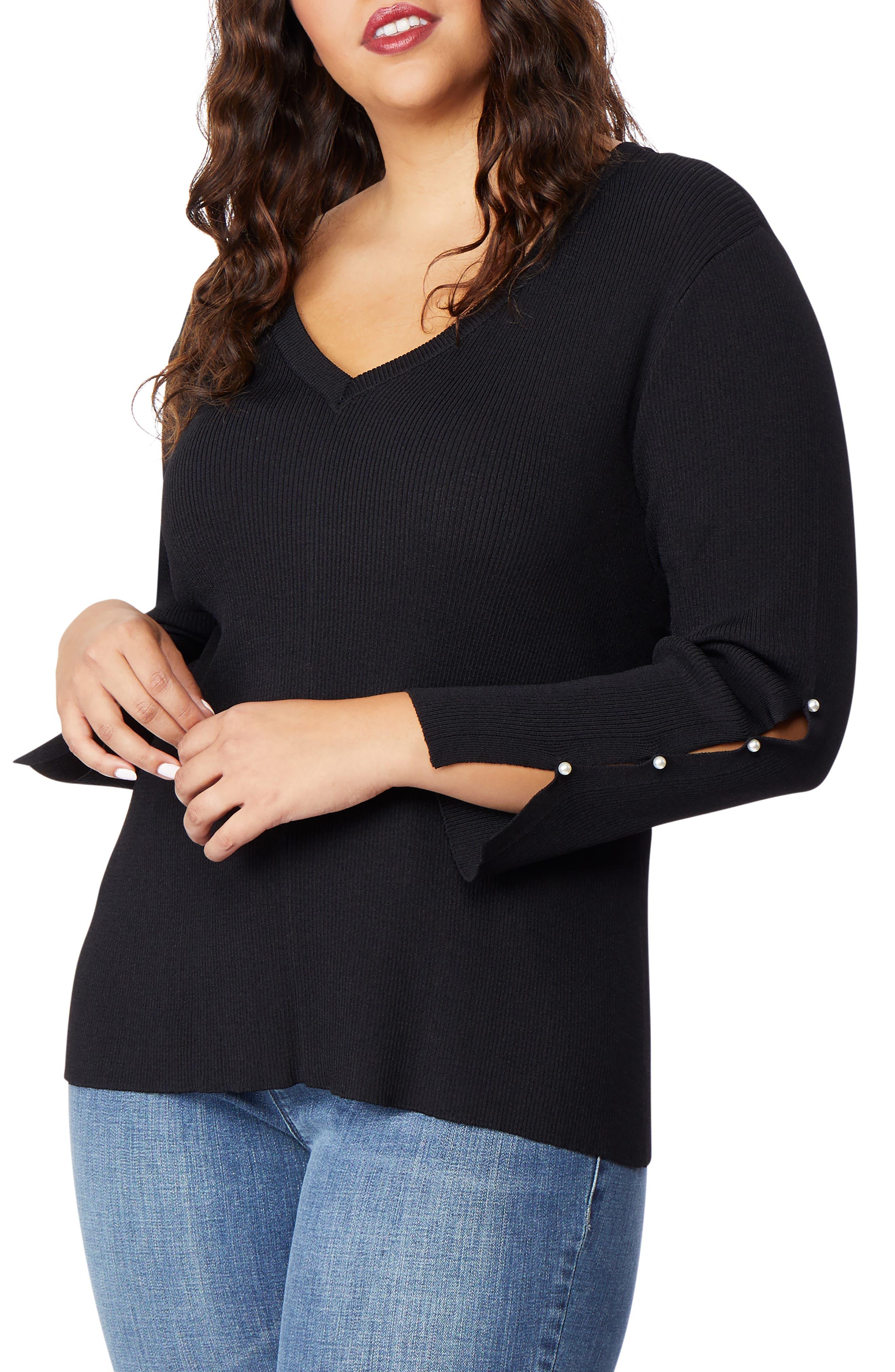 Beaded Sleeve Sweater,                         Main,                         color, 002