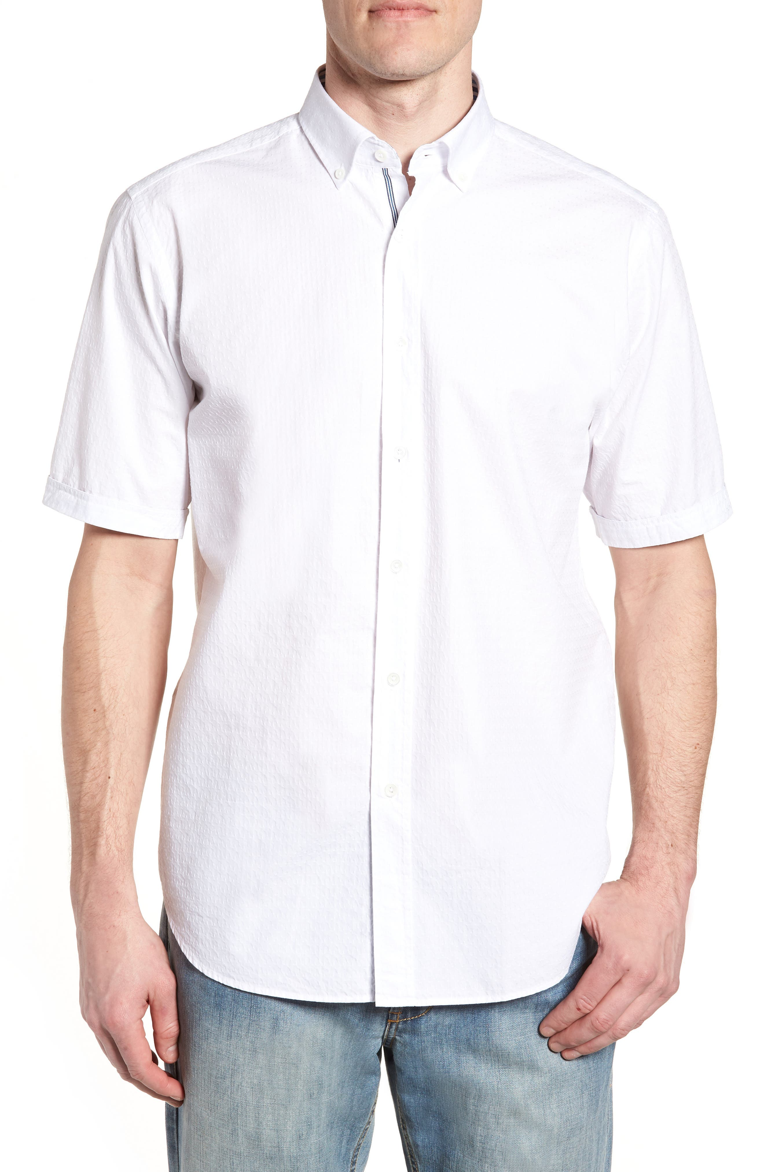 Classic Fit Textured Sport Shirt,                             Main thumbnail 1, color,                             WHITE