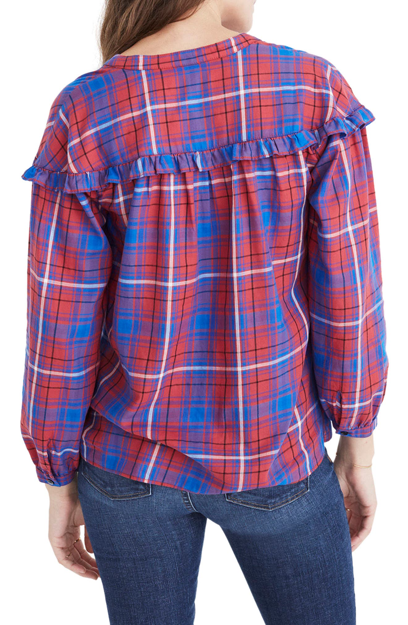 Plaid Ruffle Shirt,                             Alternate thumbnail 2, color,