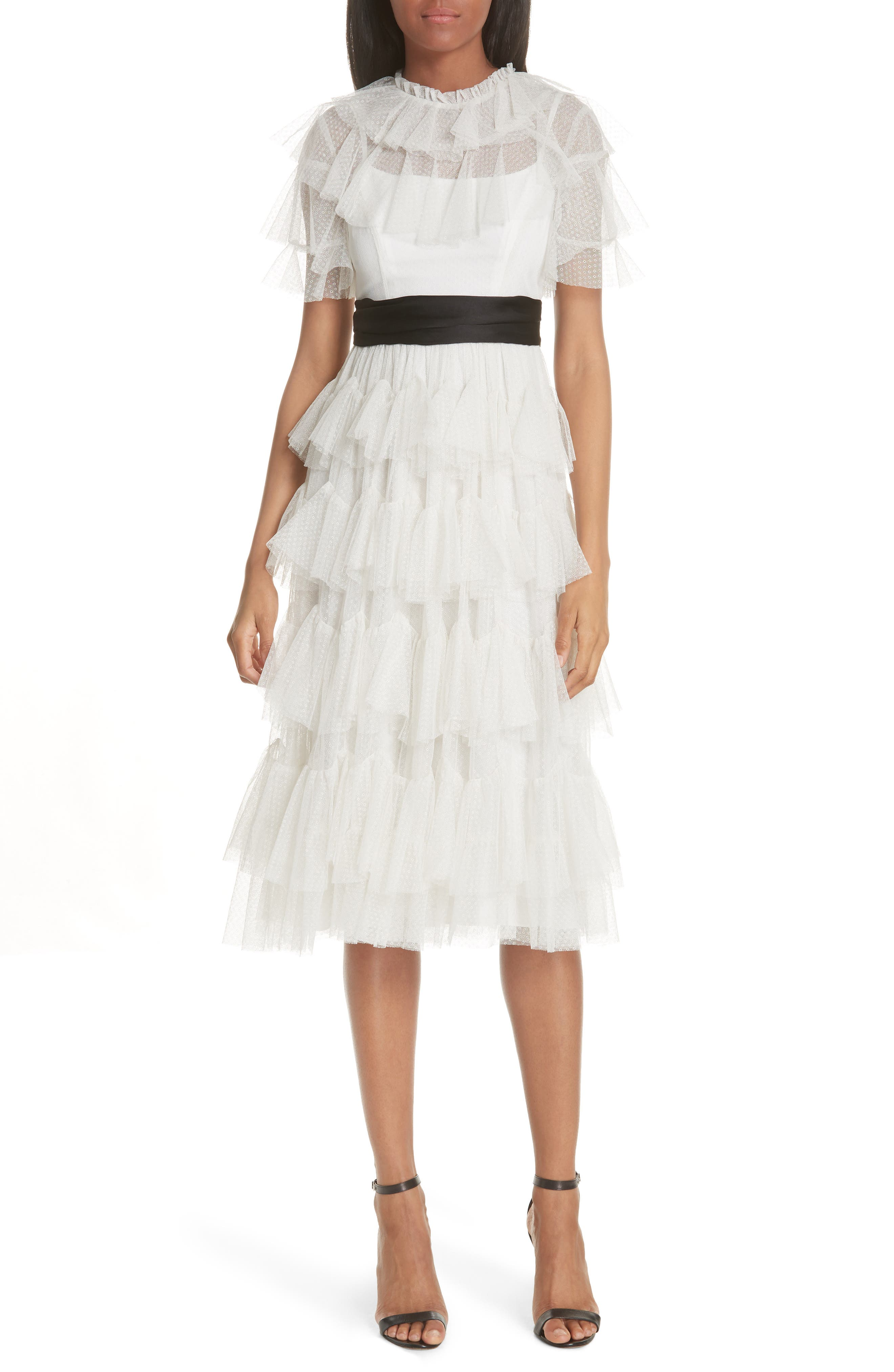 Tiered Tea Length Tulle Dress,                             Main thumbnail 1, color,                             PEARL