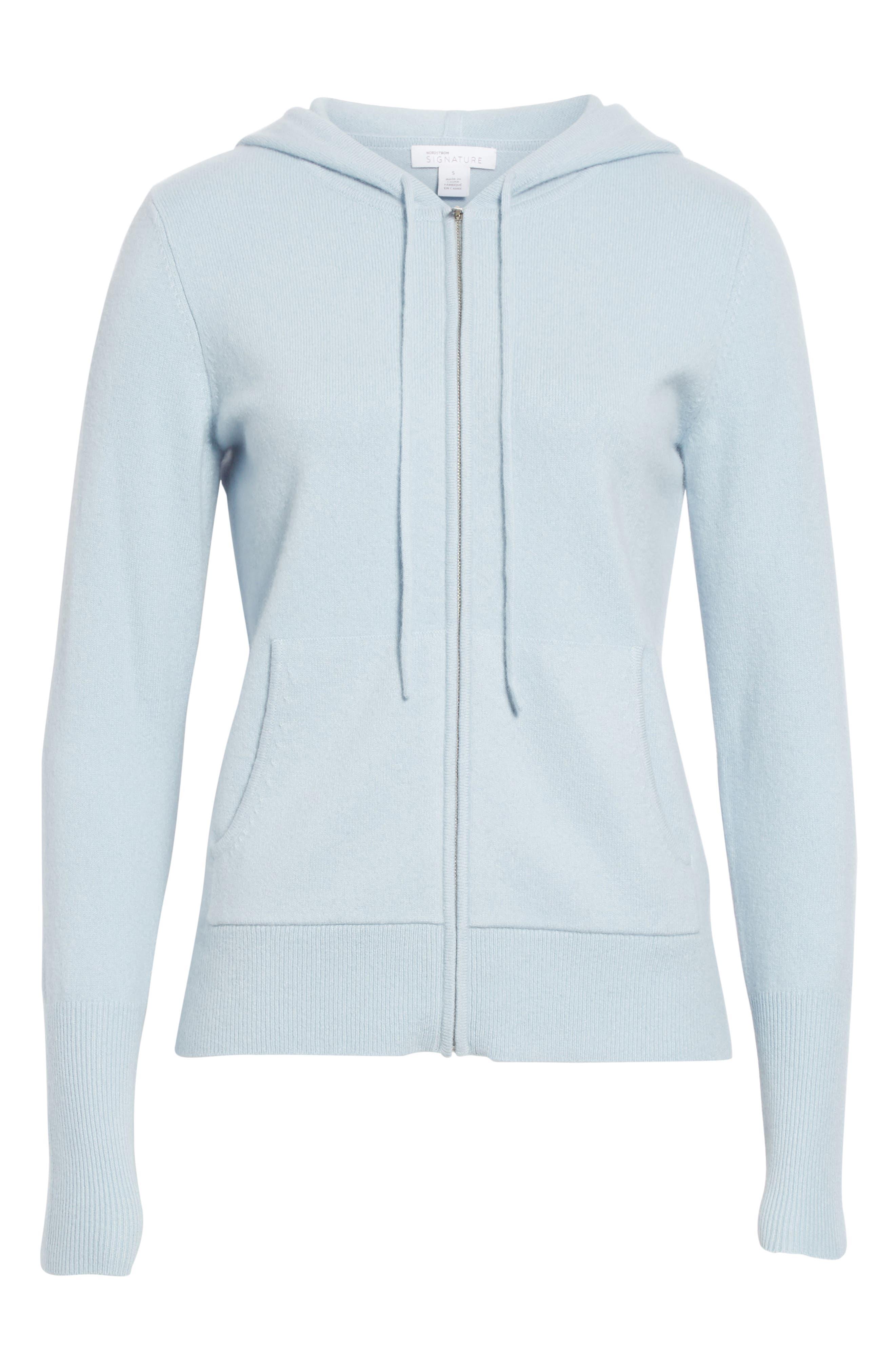 Cashmere Blend Zip Front Hoodie,                             Alternate thumbnail 6, color,                             BLUE FOG