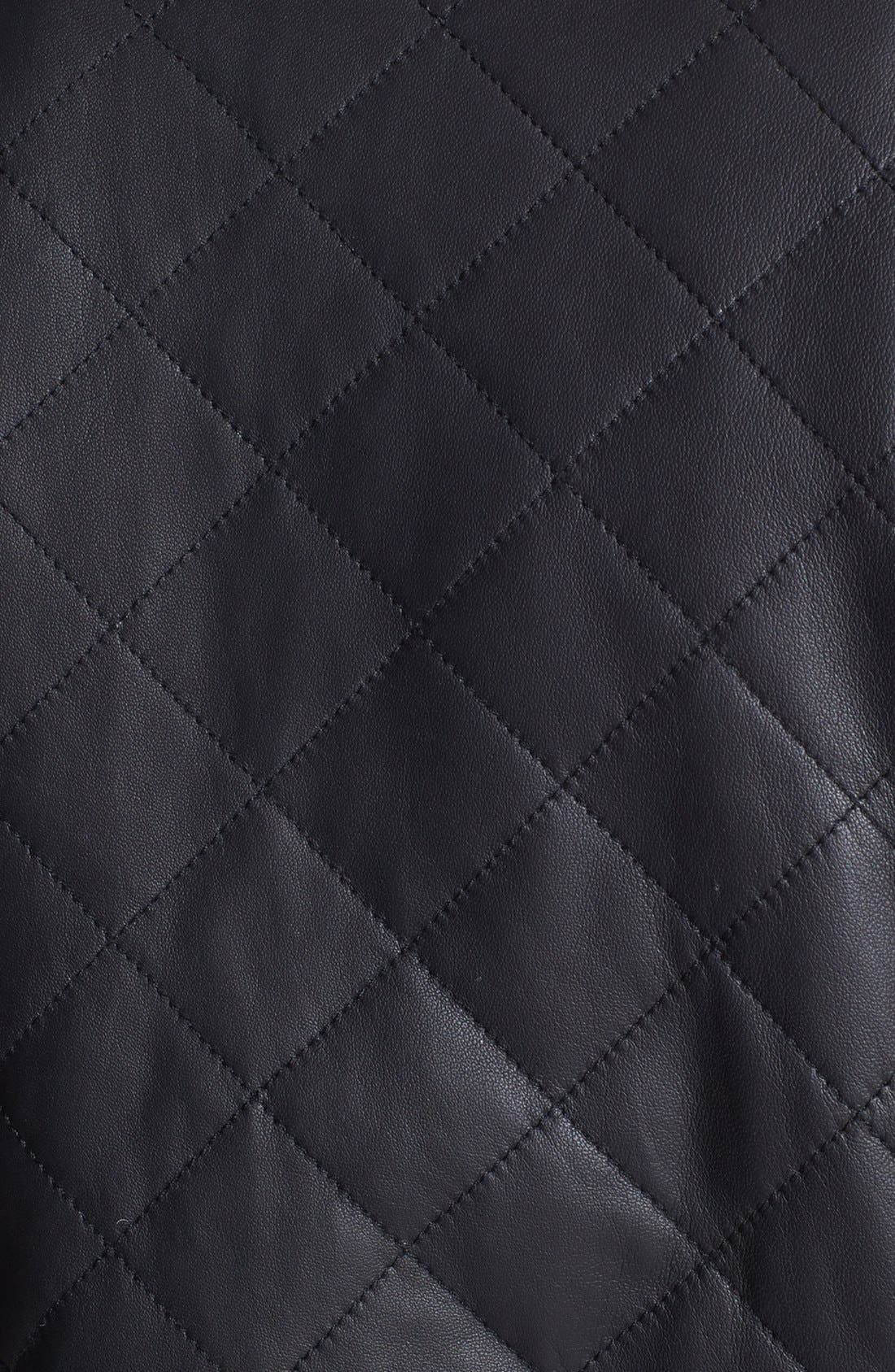 Quilted Leather Bomber Jacket,                             Alternate thumbnail 4, color,                             001