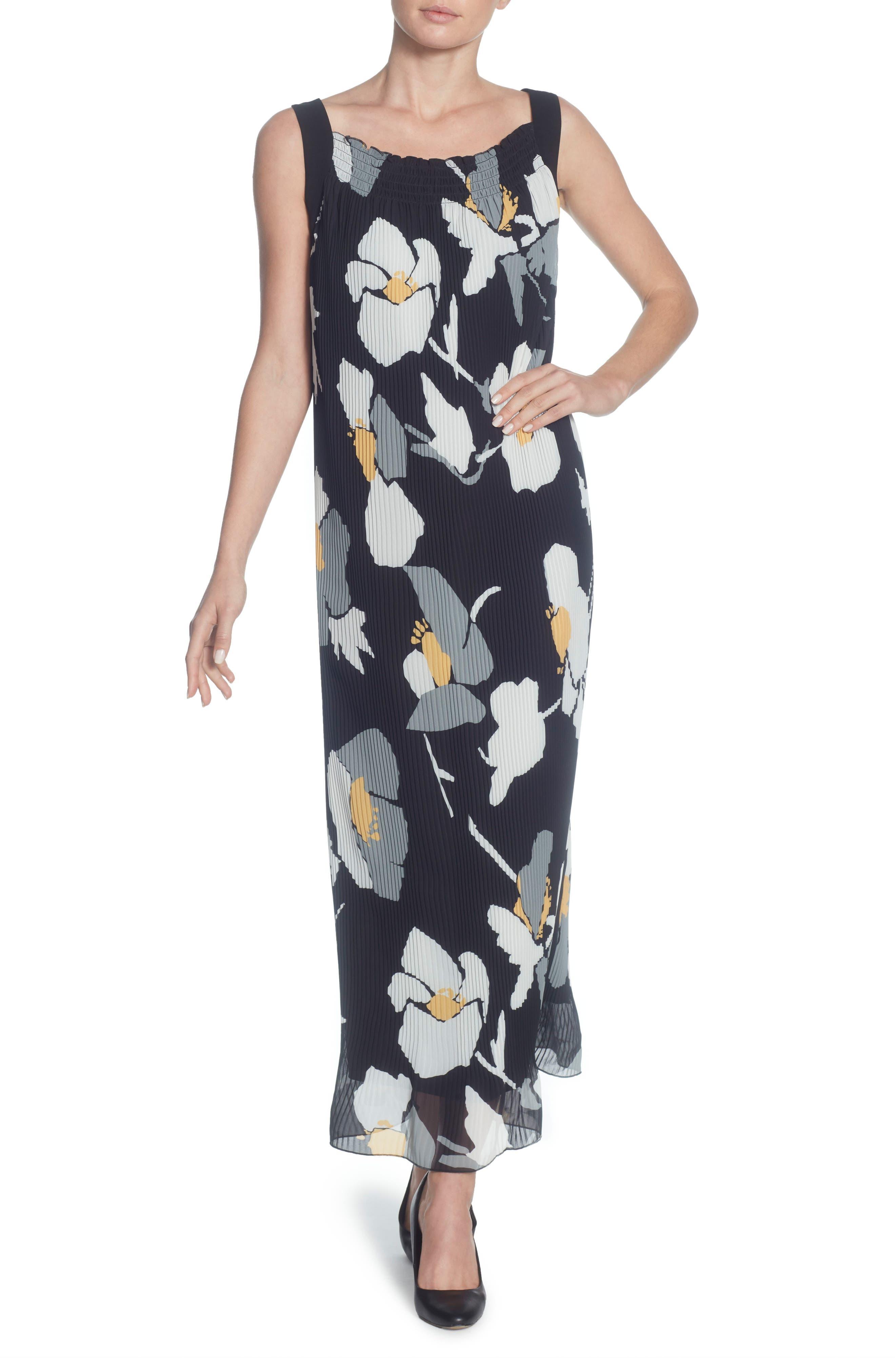 Delphine Pleated Maxi Dress,                             Main thumbnail 1, color,                             OVERSIZED FLORAL BANANA