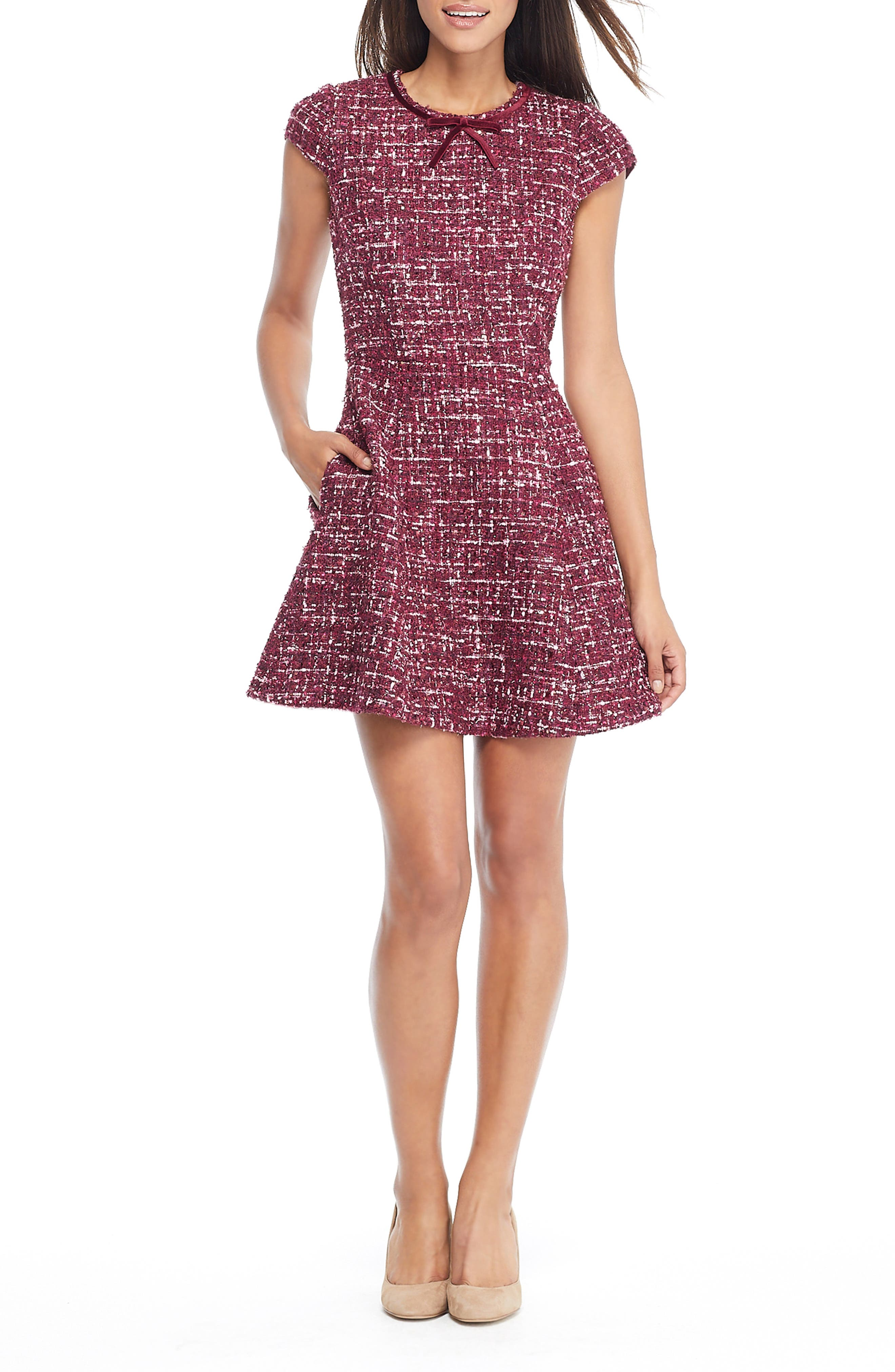 Nell Bouclé Dreams Tweed Fit & Flare Dress,                             Main thumbnail 1, color,                             WINE/ PINK
