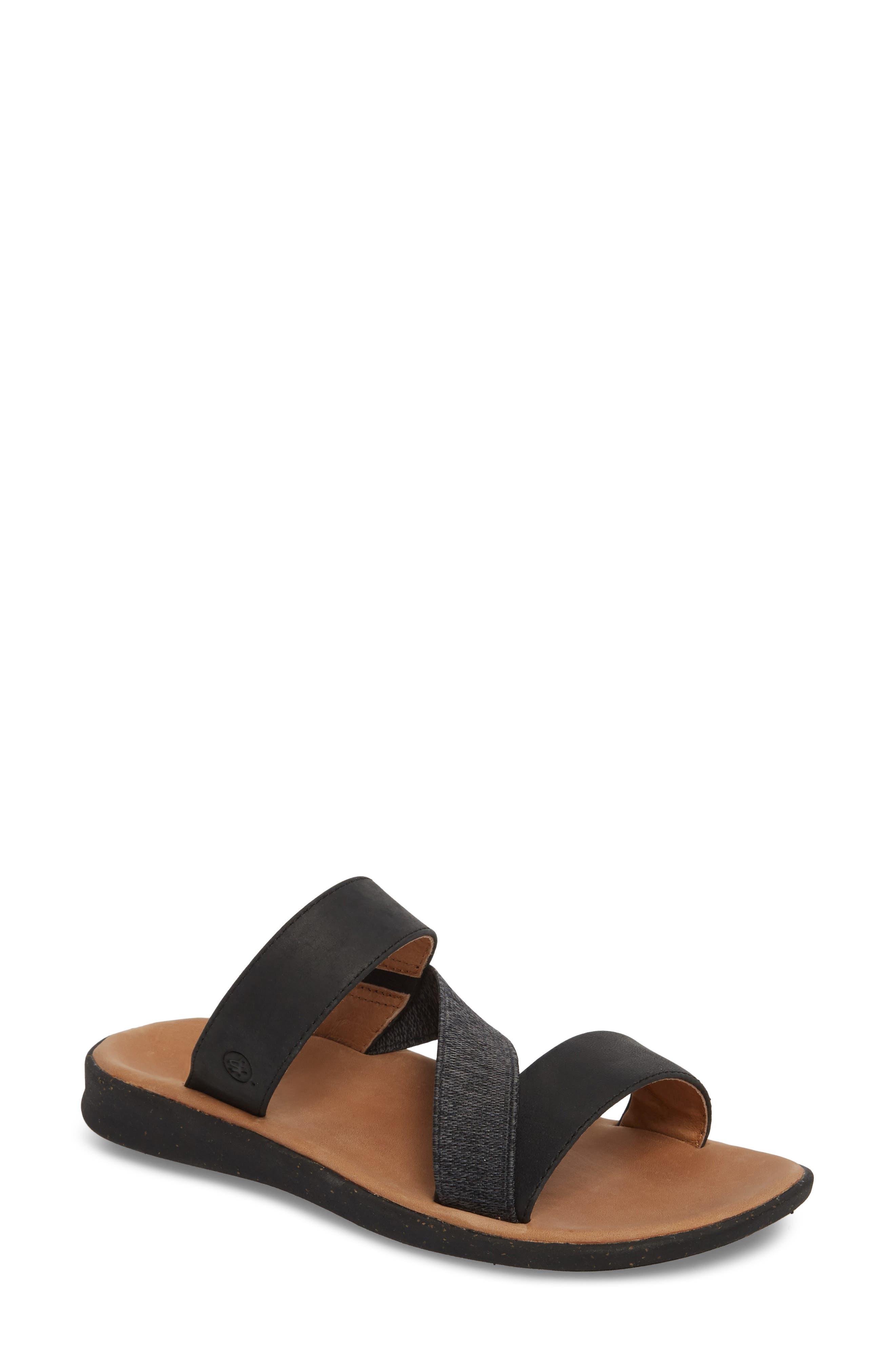 Reyes Slide Sandal,                         Main,                         color, BLACK LEATHER