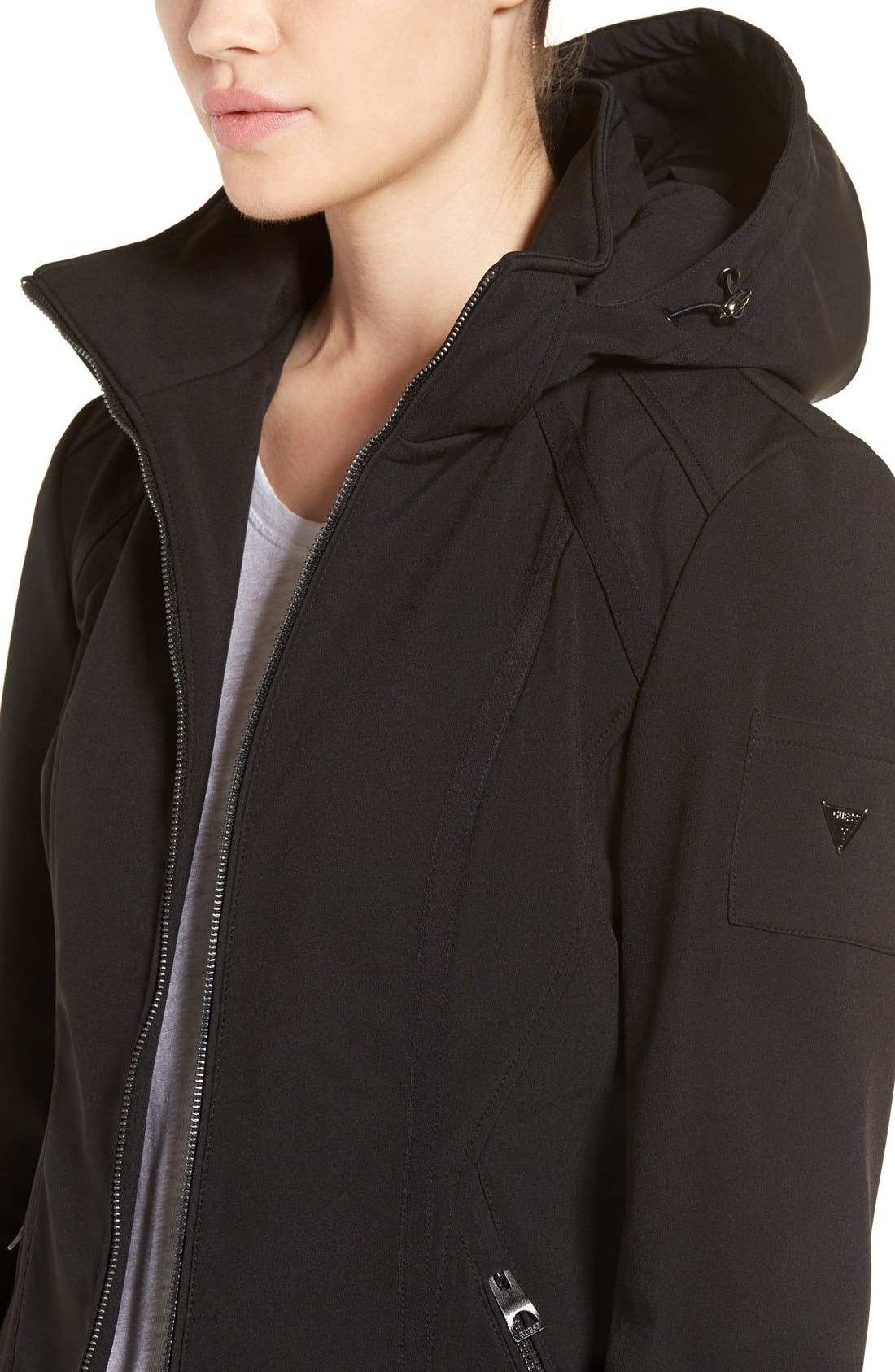 Water Resistant Hooded Soft Shell Jacket,                             Alternate thumbnail 4, color,                             001
