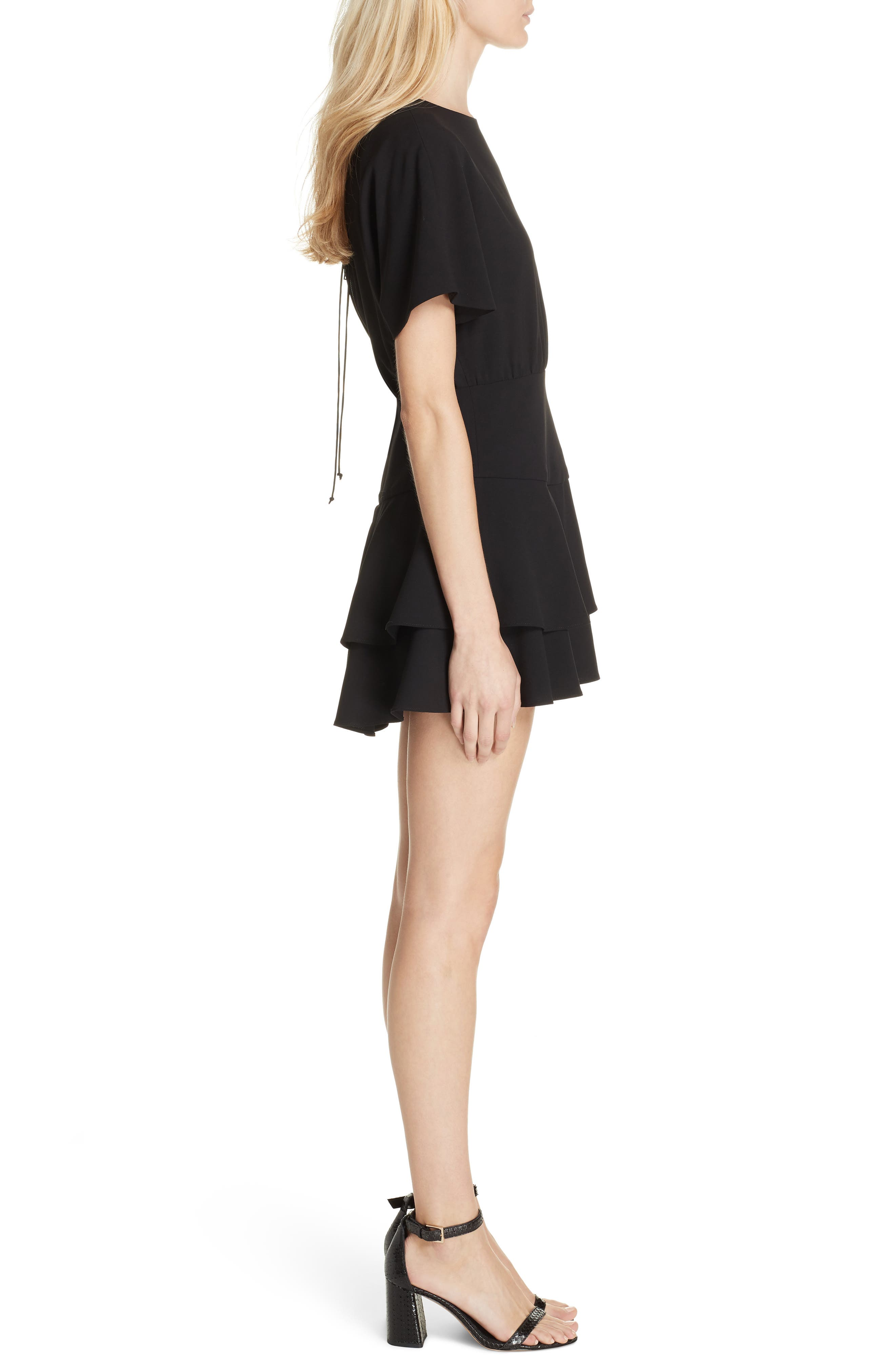 Palmira Tiered Fit & Flare Minidress,                             Alternate thumbnail 3, color,                             001