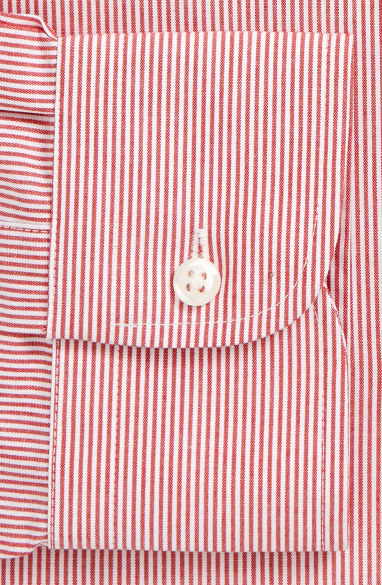 Trim Fit Non-Iron Stripe Dress Shirt,                             Alternate thumbnail 35, color,