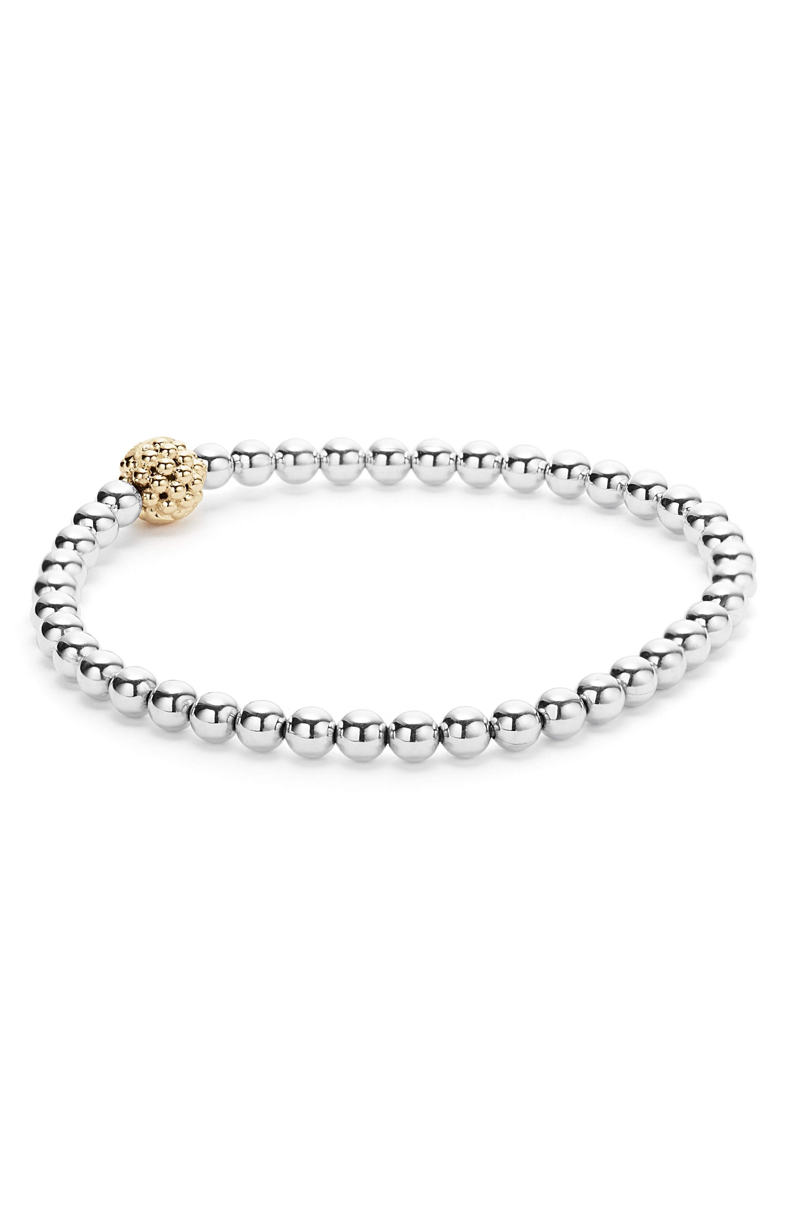 Caviar Icon Ball Bracelet,                             Alternate thumbnail 4, color,                             SILVER/ GOLD BALL