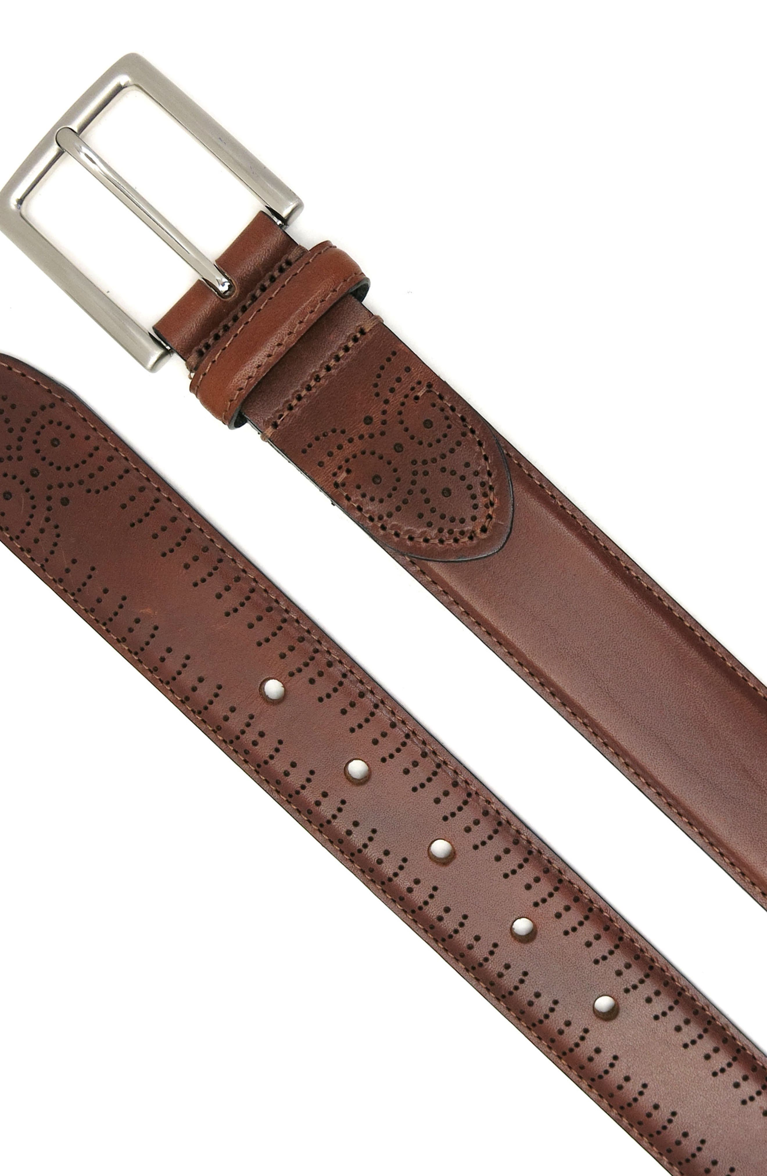 Perforated Tab Leather Belt,                             Alternate thumbnail 3, color,                             COGNAC