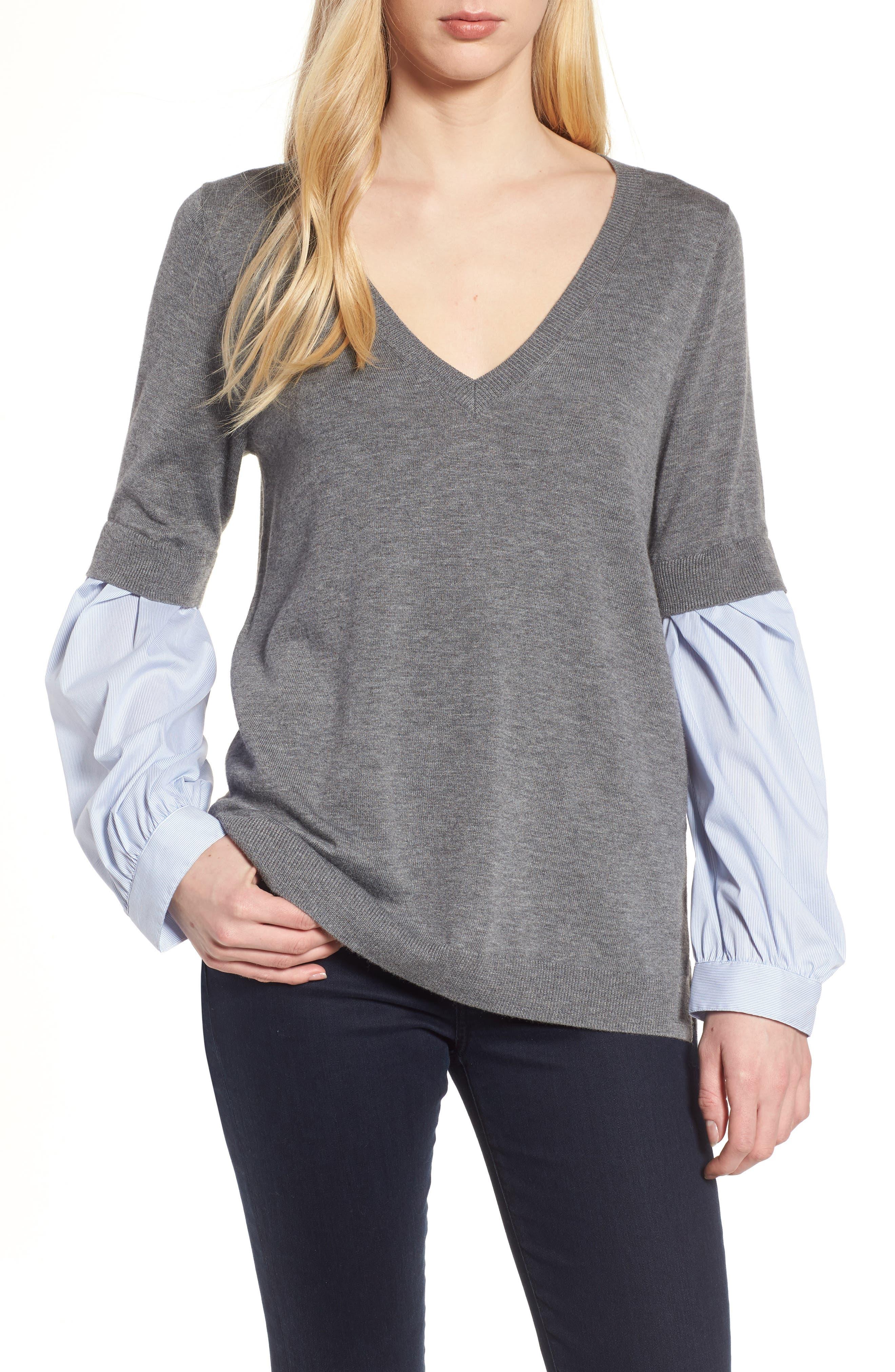 Woven Sleeve Sweater,                             Main thumbnail 1, color,                             030