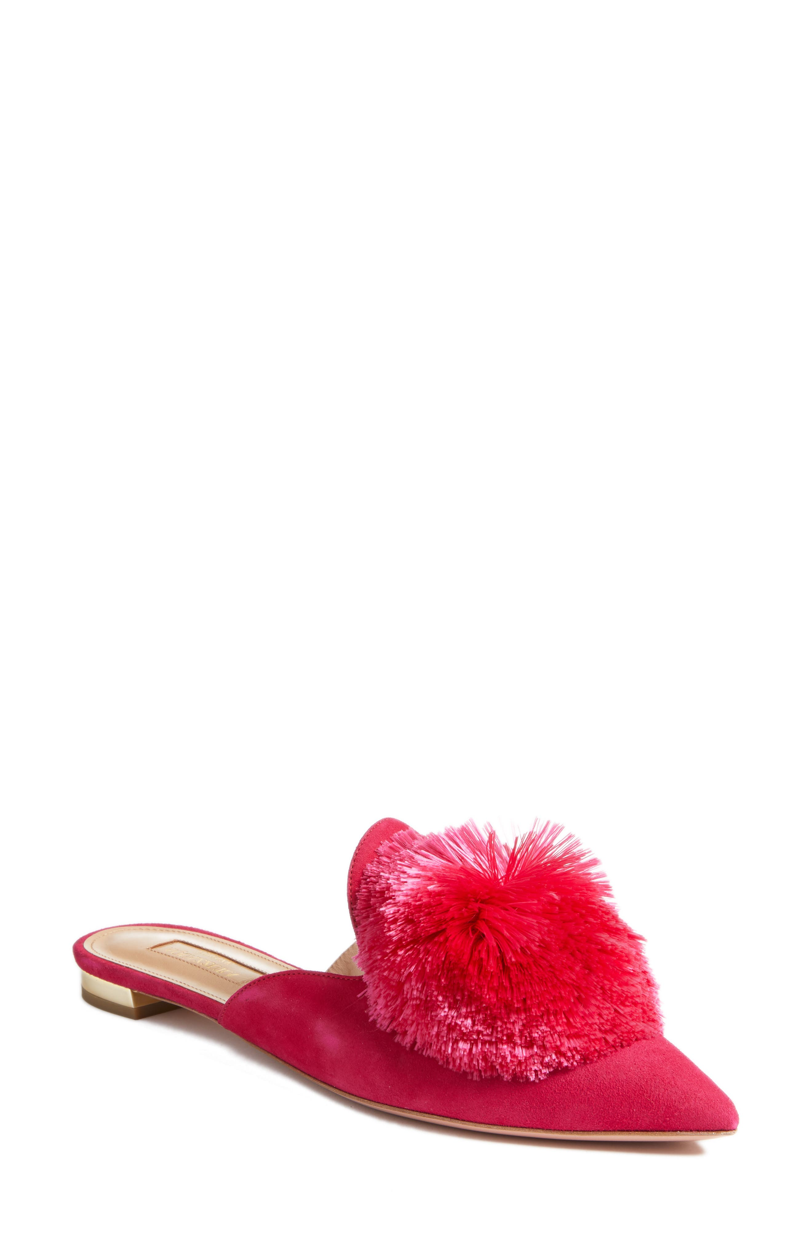 Powder Puff Pointy Toe Mule,                         Main,                         color, CABARET PINK