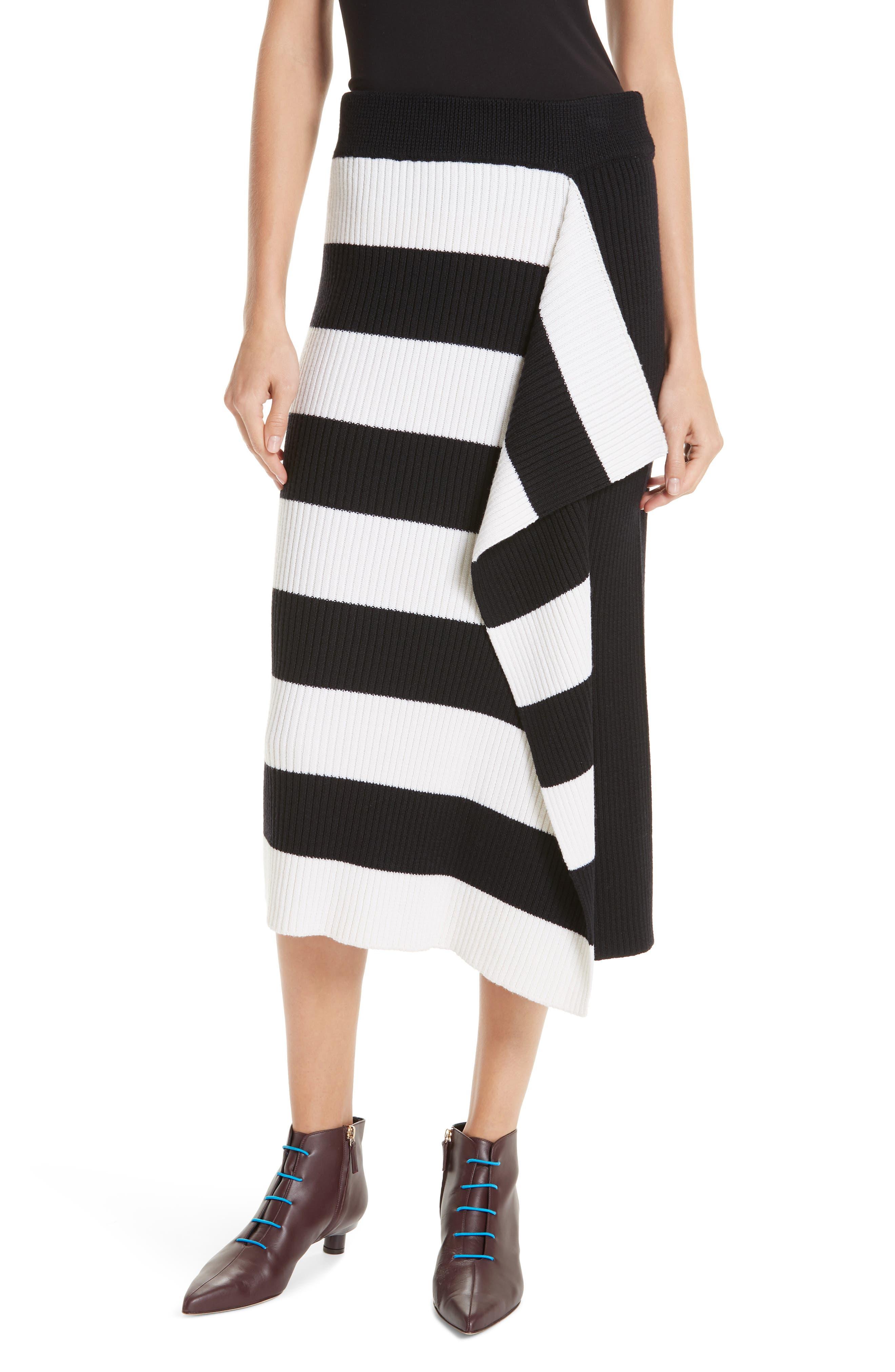 Origami Flap Stripe Midi Skirt,                             Main thumbnail 1, color,                             BLACK/ WHITE MULTI