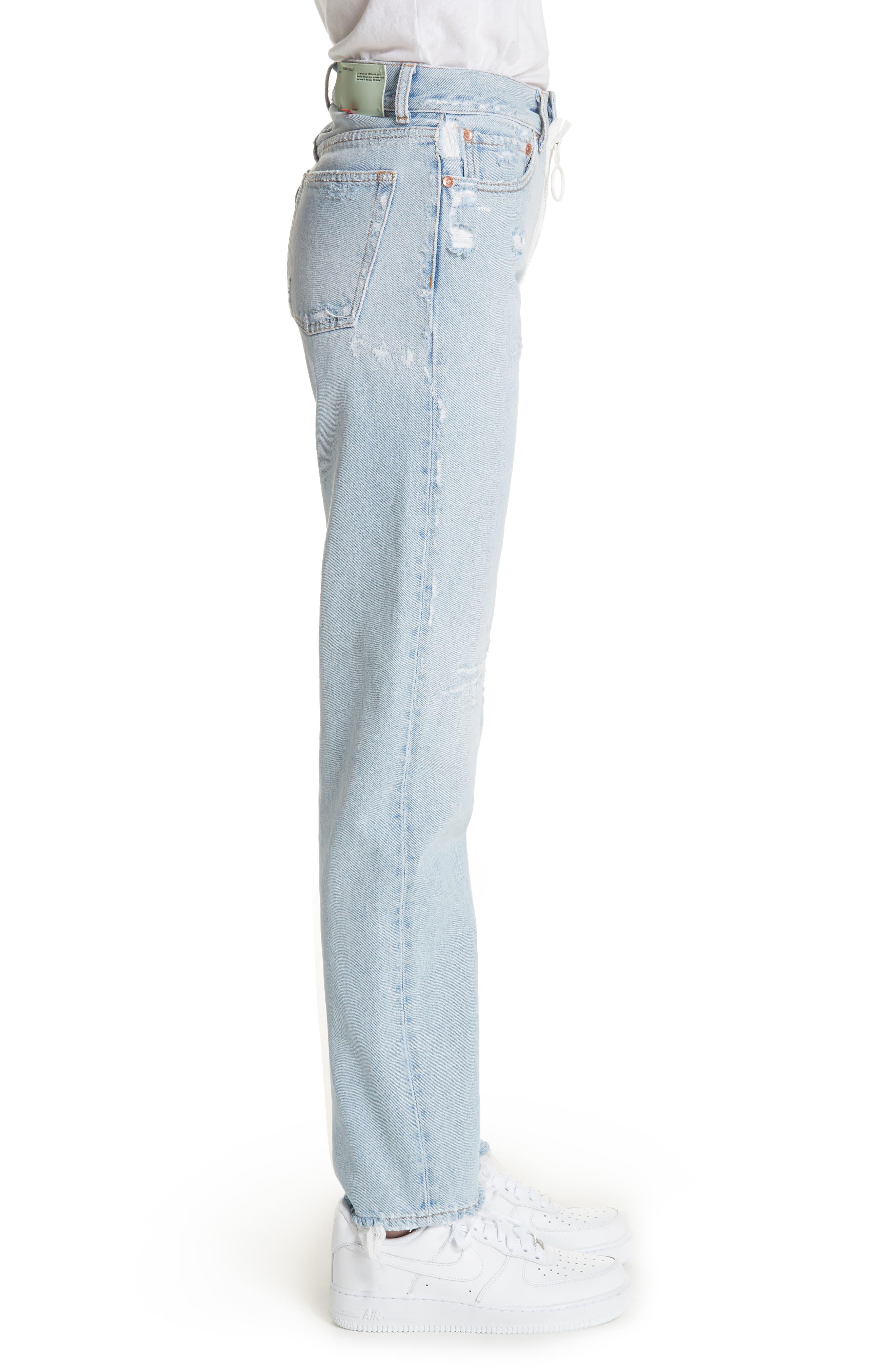 Distressed Straight Leg Jeans,                             Alternate thumbnail 3, color,                             400