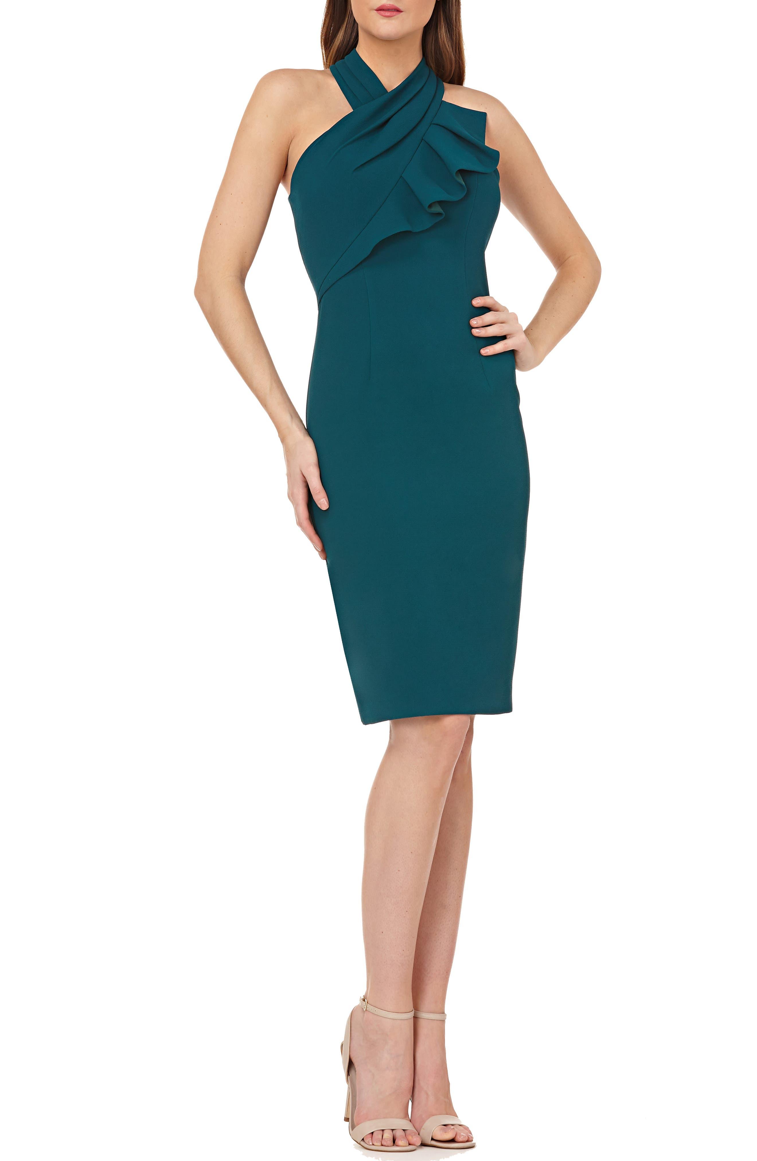 Carmen Marc Valvo Infusion Ruffle Halter Sheath Dress, Green