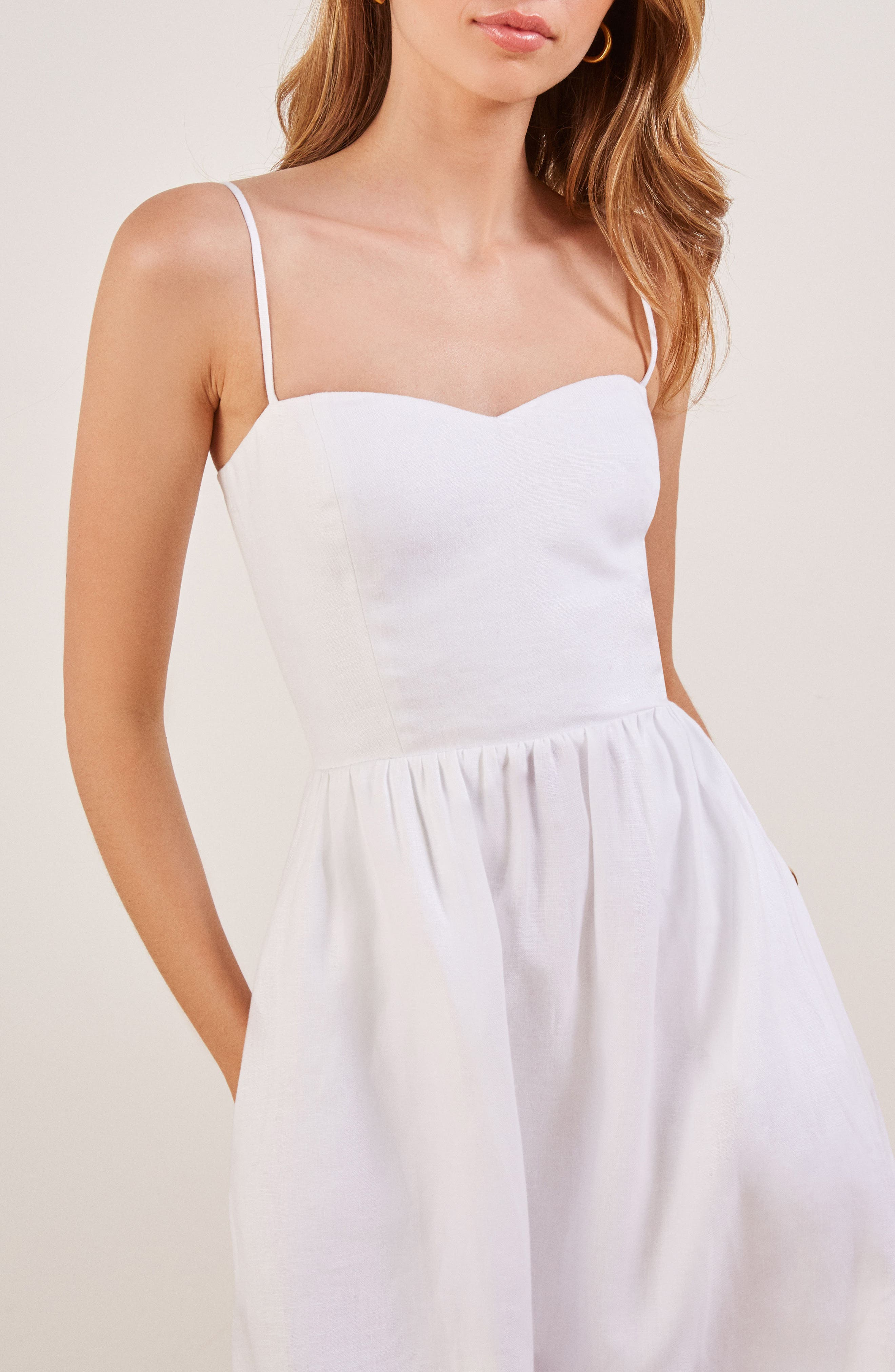 Olivia Linen Midi Dress,                             Alternate thumbnail 4, color,                             100