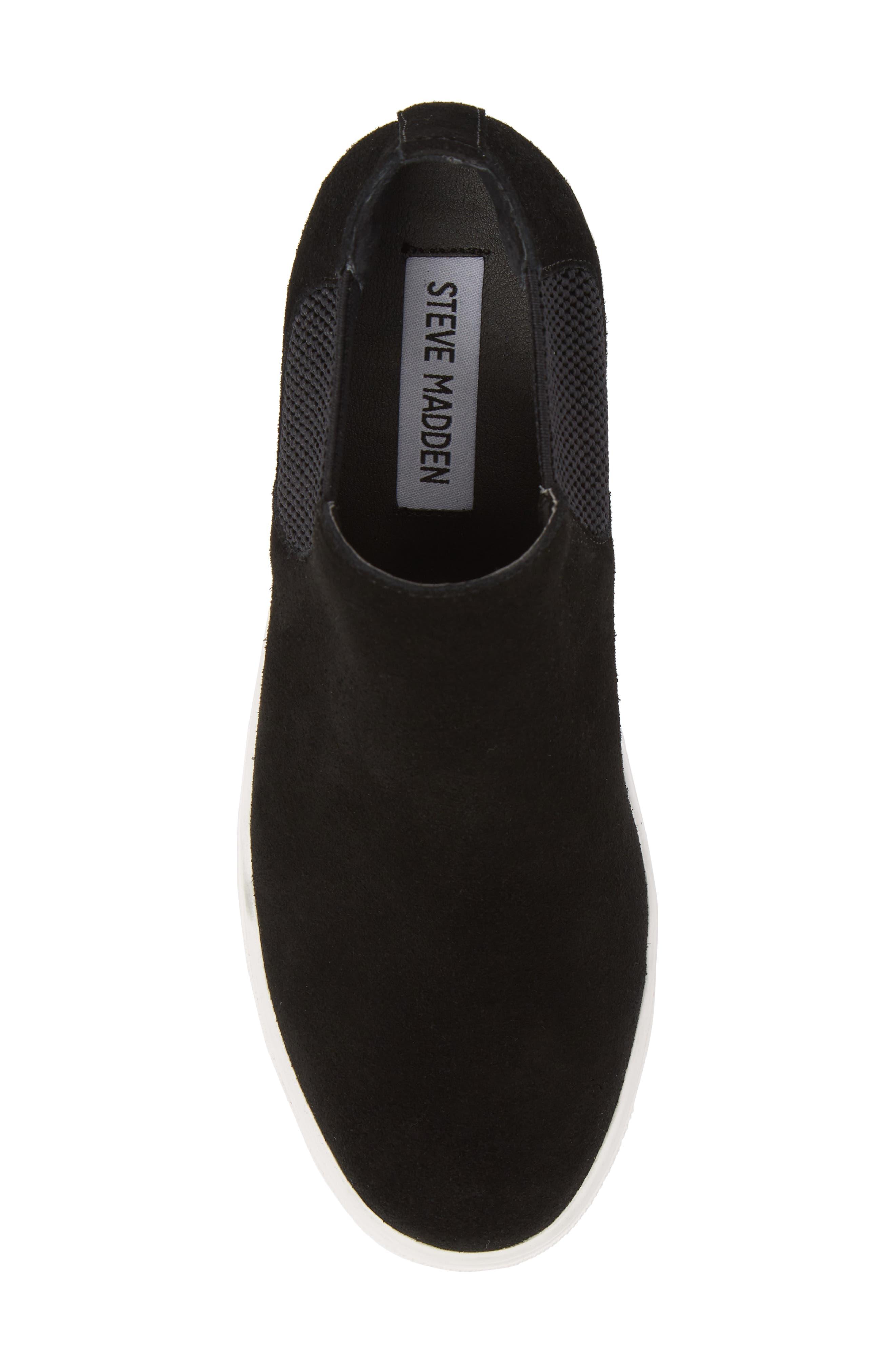 Sultan Chelsea Wedge Sneaker,                             Alternate thumbnail 5, color,                             BLACK SUEDE
