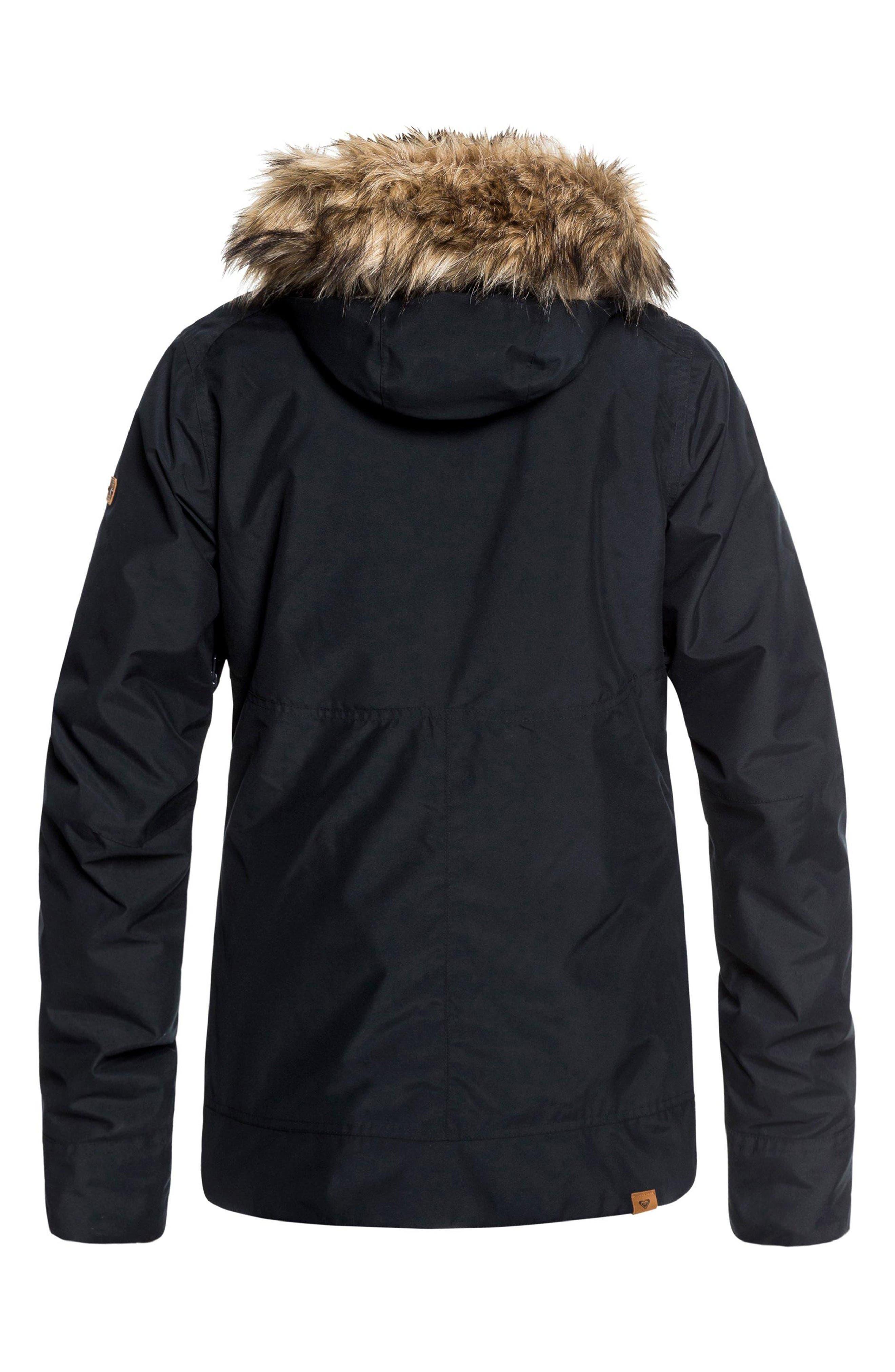 ROXY,                             Shelter Faux Fur Hood Anorak,                             Alternate thumbnail 8, color,                             TRUE BLACK