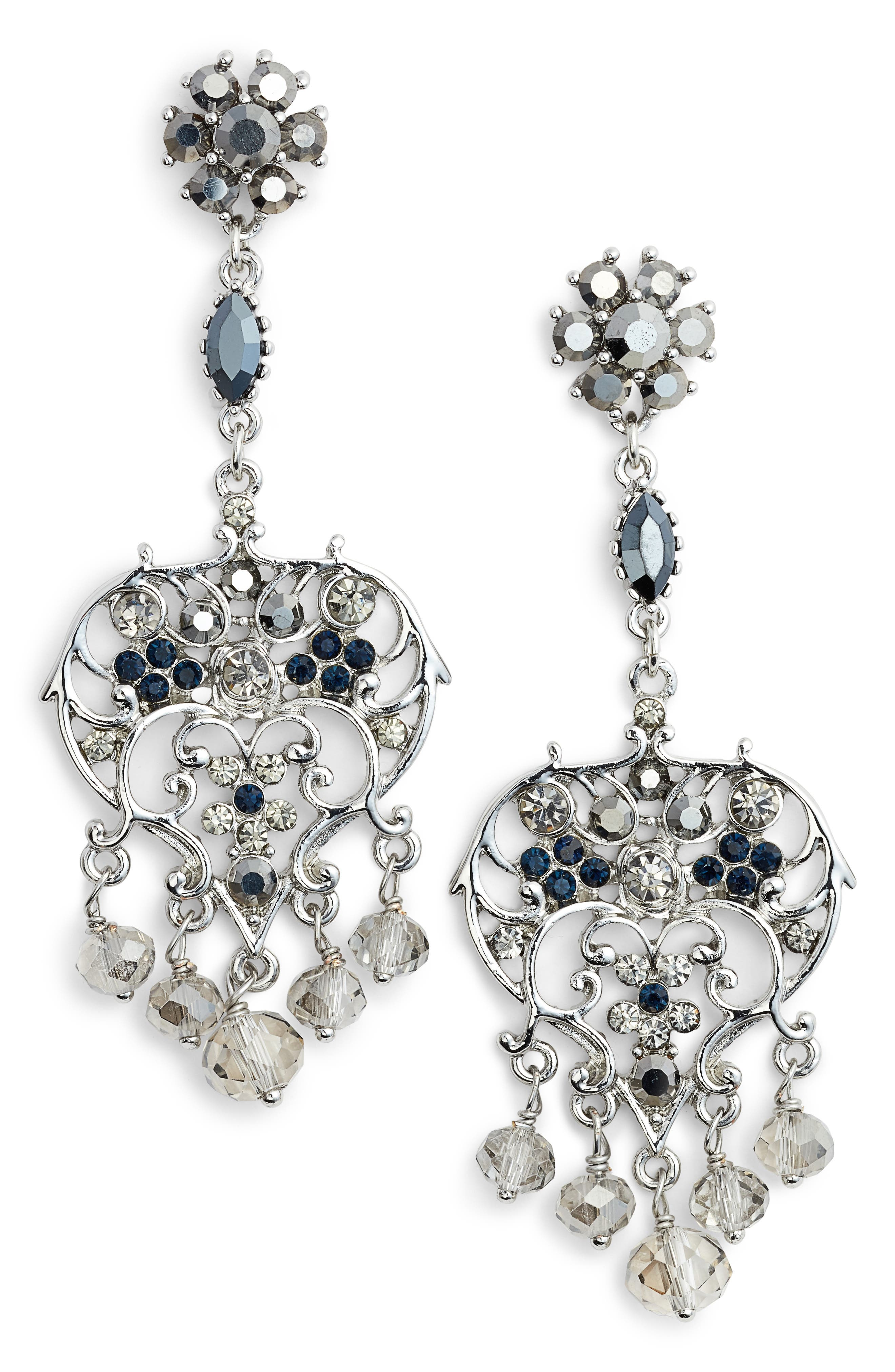 Badgley Mischka Vintage Chandelier Earrings,                             Main thumbnail 1, color,                             SILVER